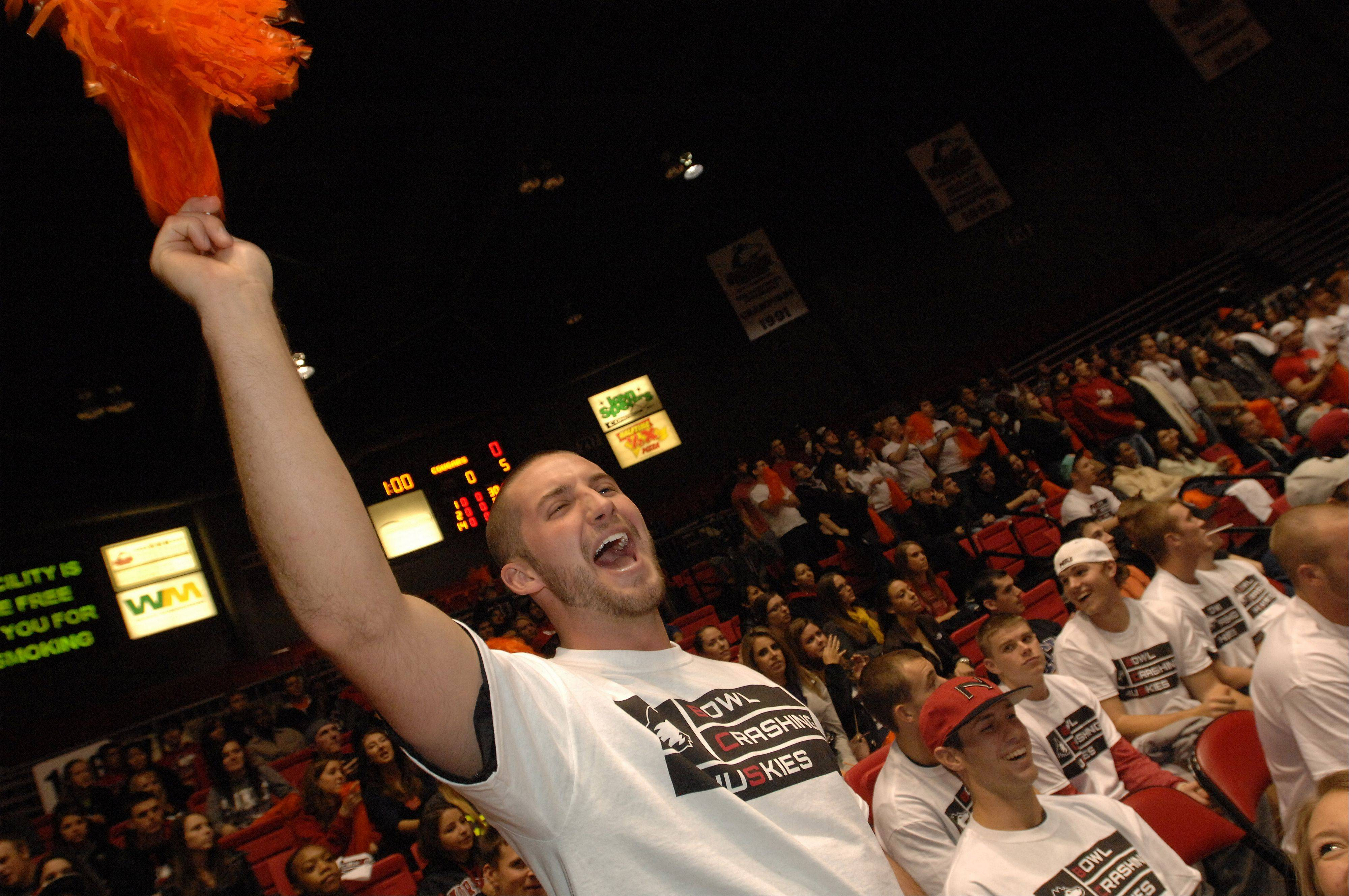 Connor Schomig Cheers on NIU in a Bowl Crashing Huskies shirt during the basketball- pep rally Wednesday evening at NIU.