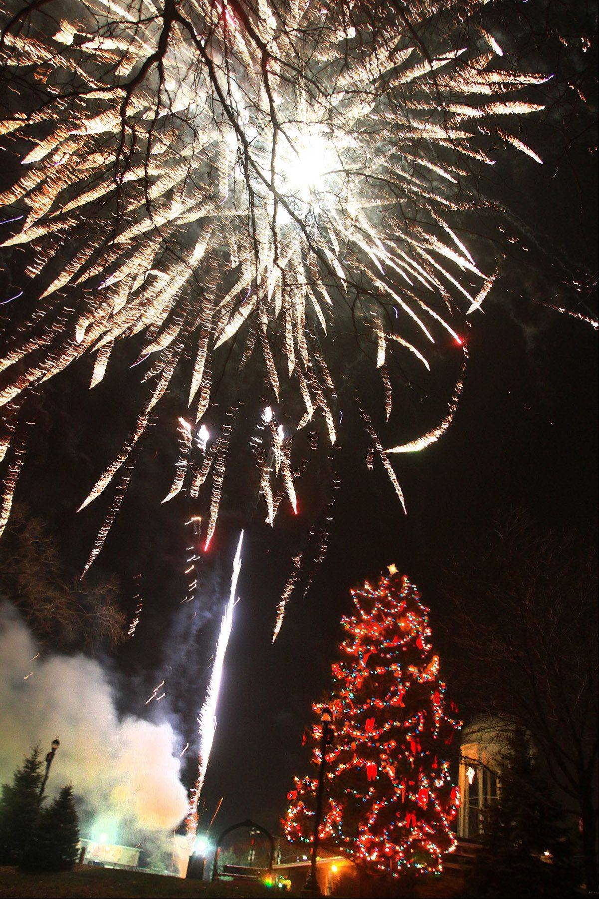 About 400 watched a ten-minute firework show following the Mundelein annual holiday tree lighting and visit from Santa Claus at Kracklauer Park in Mundelein on Friday.