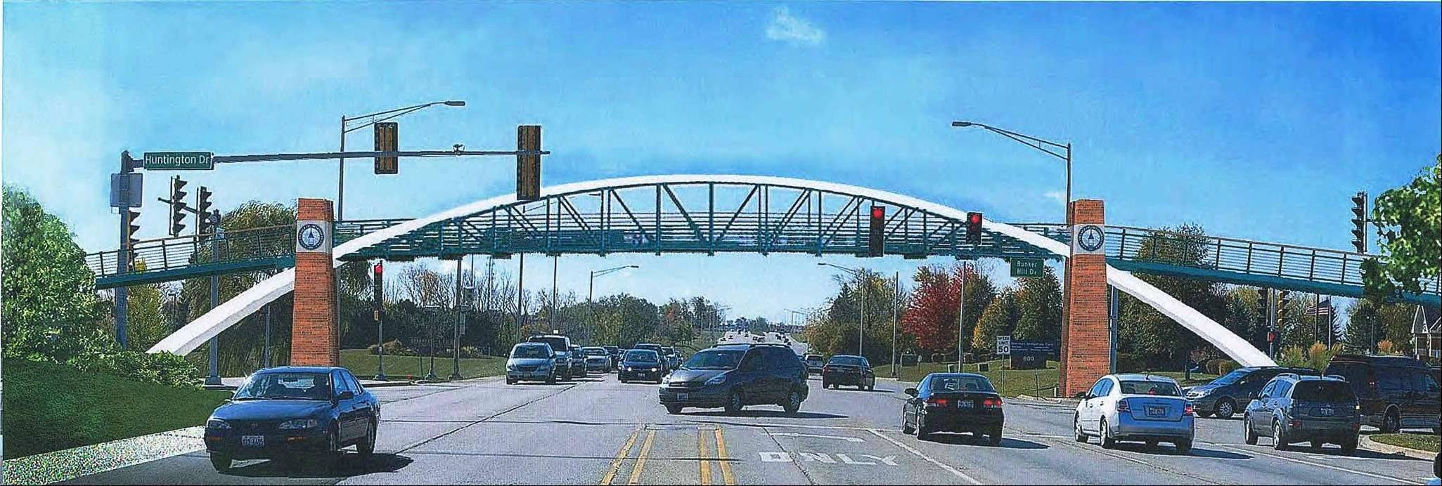 The $3.1 million pedestrian bridge that will eventually cross over Randall Road at Bunker Hill Drive in Algonquin will eventually look like this. Tuesday, the village�s committee of the whole selected this design from 10 others.