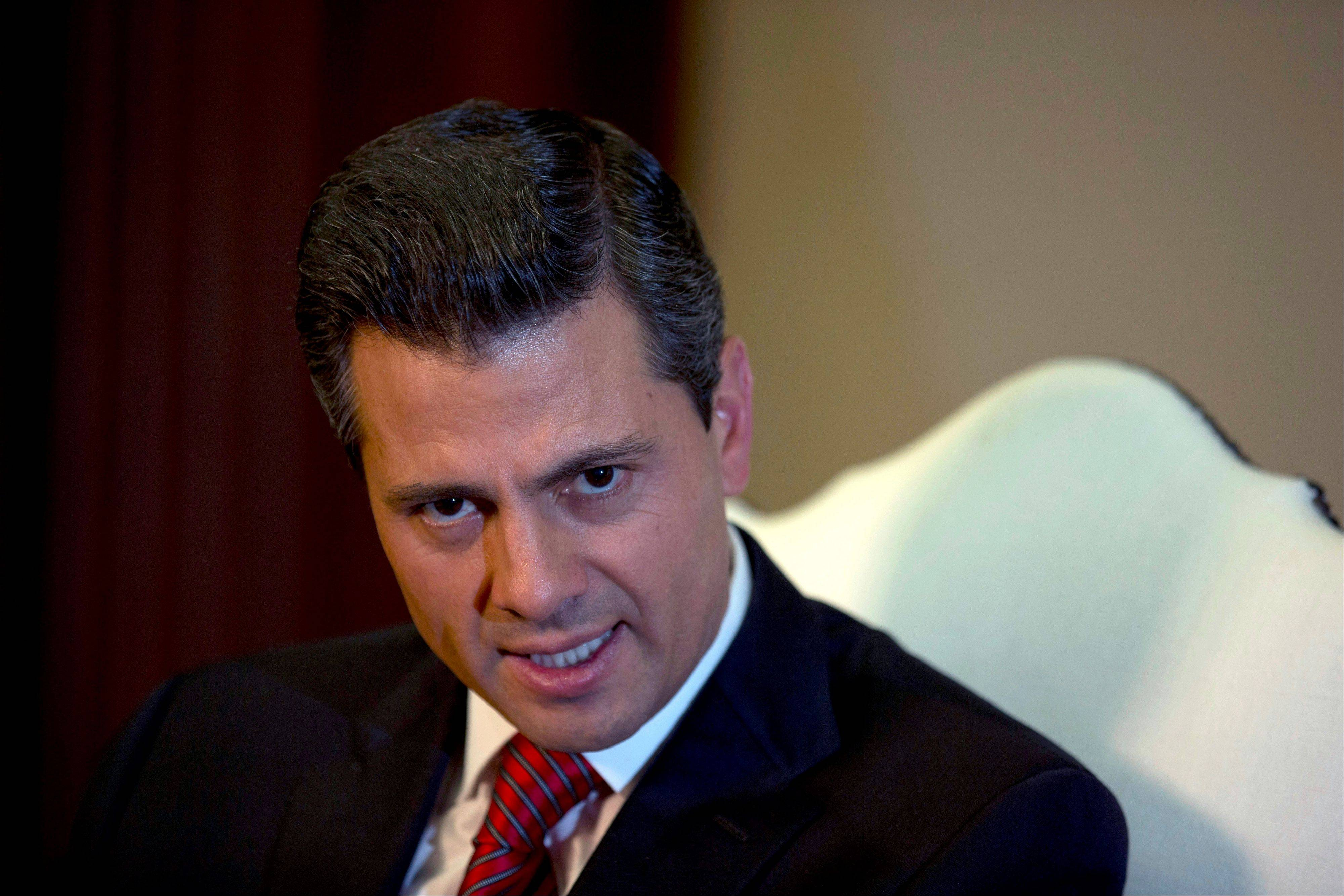 Enrique Pena Nieto speaks during an interview with The Associated Press at the Los Pinos presidential residence in Mexico City, Monday, Dec. 10, 2012. Pena Nieto says he�ll mount a �real fight� against production and trafficking of marijuana, despite its legalization in two U.S. states.