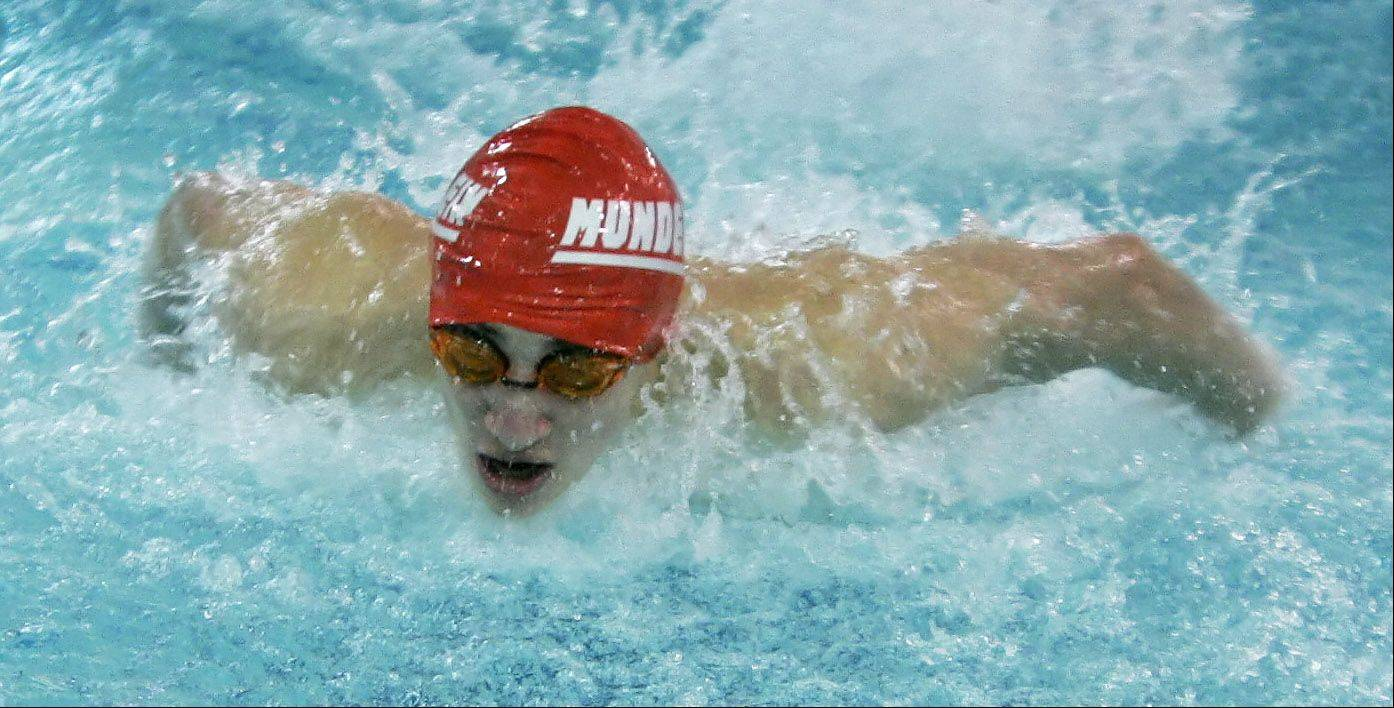 Mundelein�s Connor Black swims the butterfly leg of the 220-yard medley relay during Thursday�s swimming meet at Warren in Gurnee.