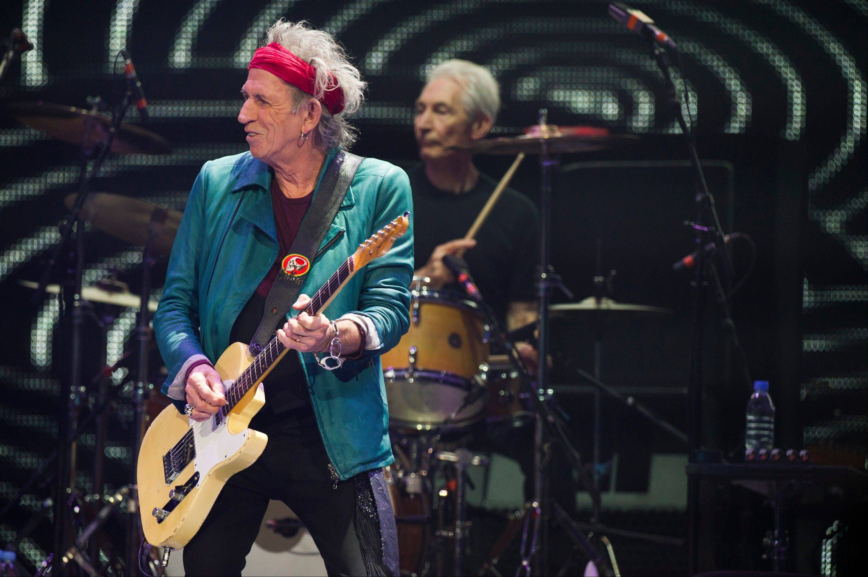 Keith Richards, left, and Charlie Watts of The Rolling Stones perform in concert on Saturday in New York.