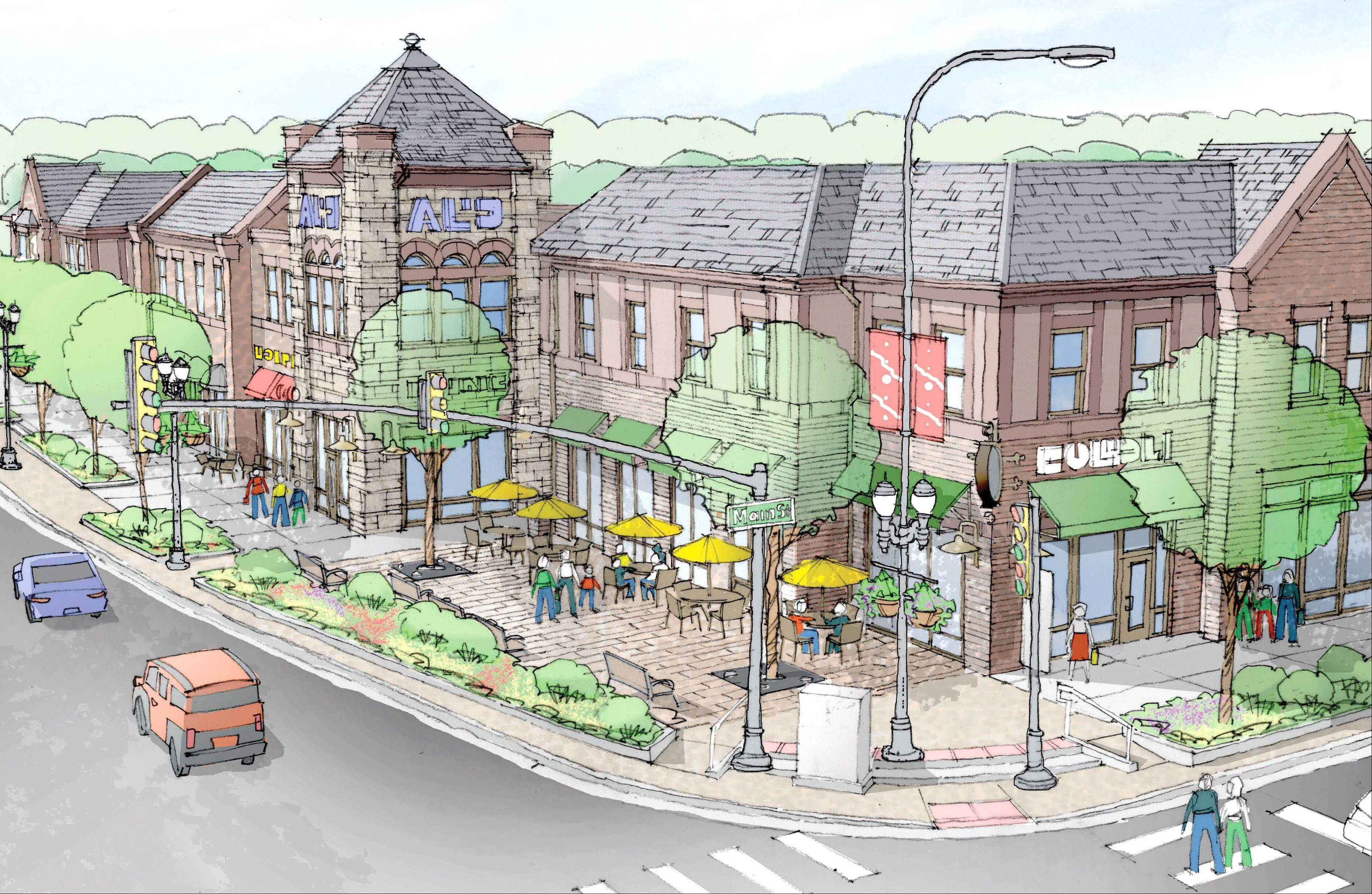 An artist's rendering of the retail-office development proposed for the southwest corner of Hough and Main streets.