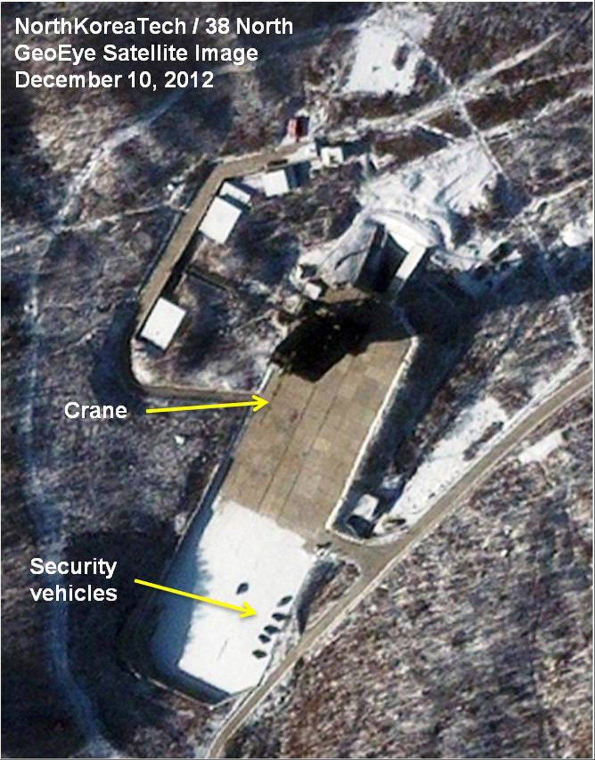 This satellite image provided Monday by GeoEye and annotated by 38 North, shows recent activity at the Sohae rocket launching facility in Cholsan County, North Pyongan province, North Korea.