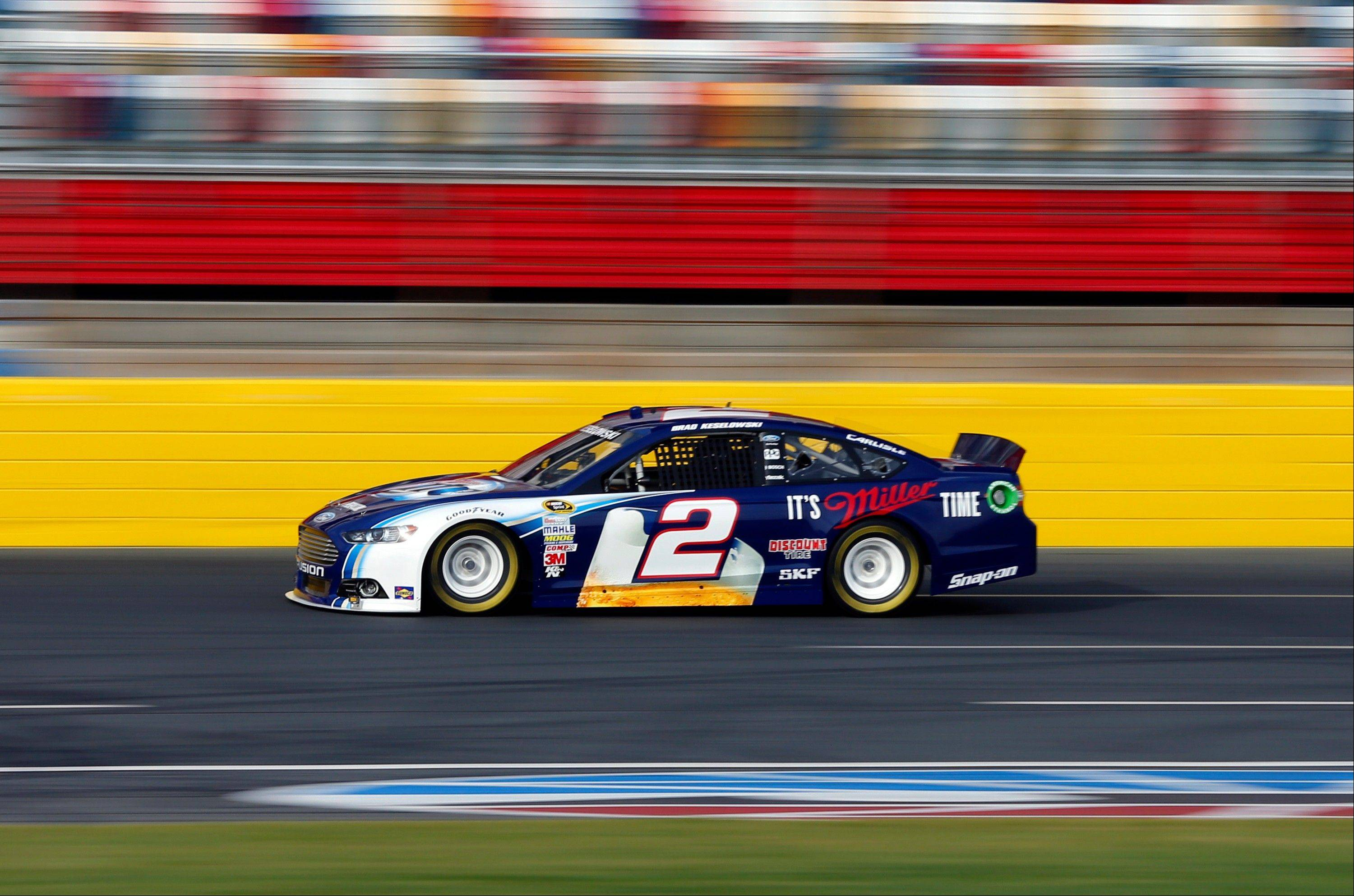 Brad Keselowski drives his car Tuesday during testing for the NASCAR Sprint Cup auto racing series at Charlotte Motor Speedway in Concord, N.C.