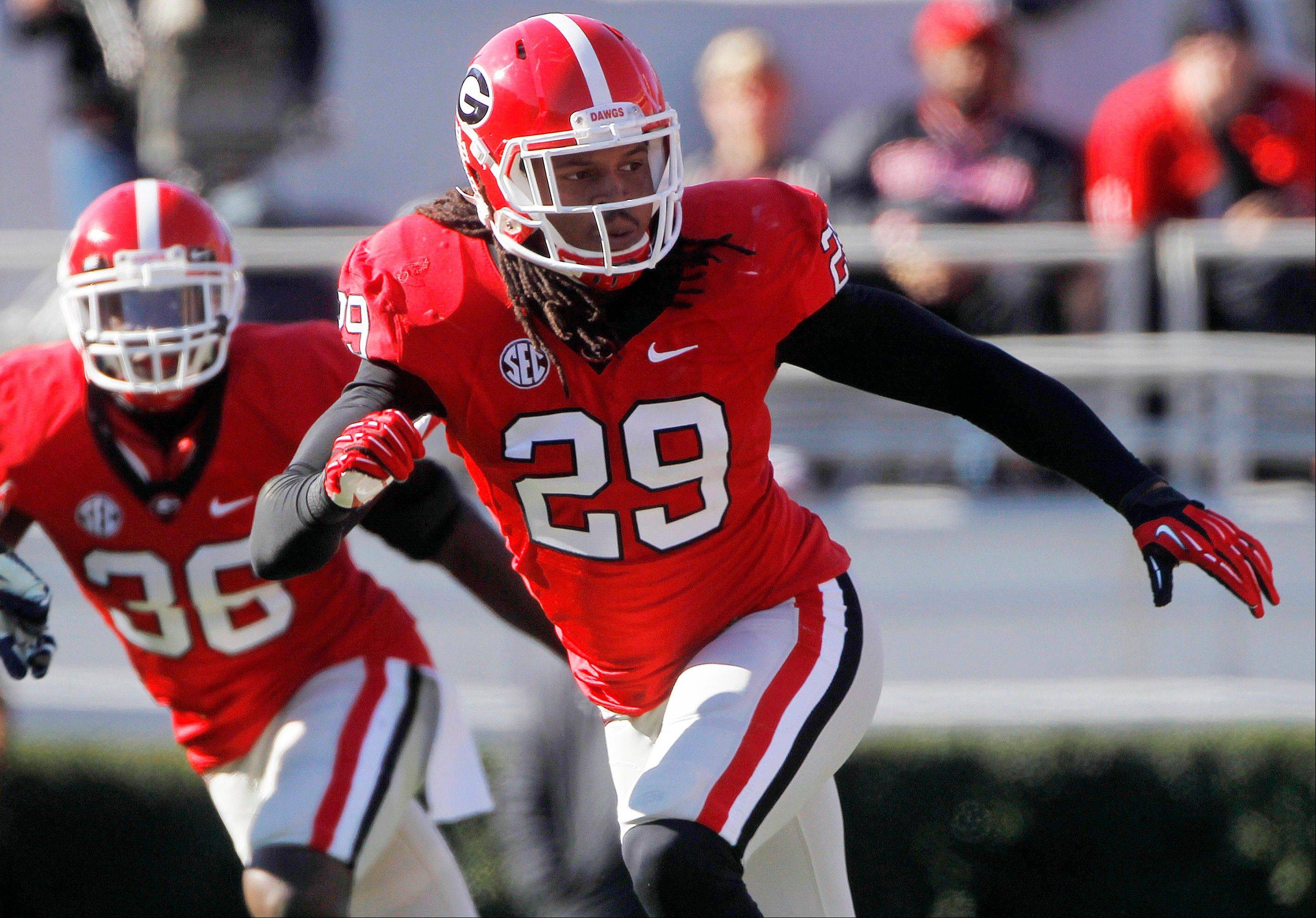 Georgia linebacker Jarvis Jones (29) follows the action against Georgia Southern in Athens, Ga. Jarvis was selected to the first-team on The Associated Press All-America football team.