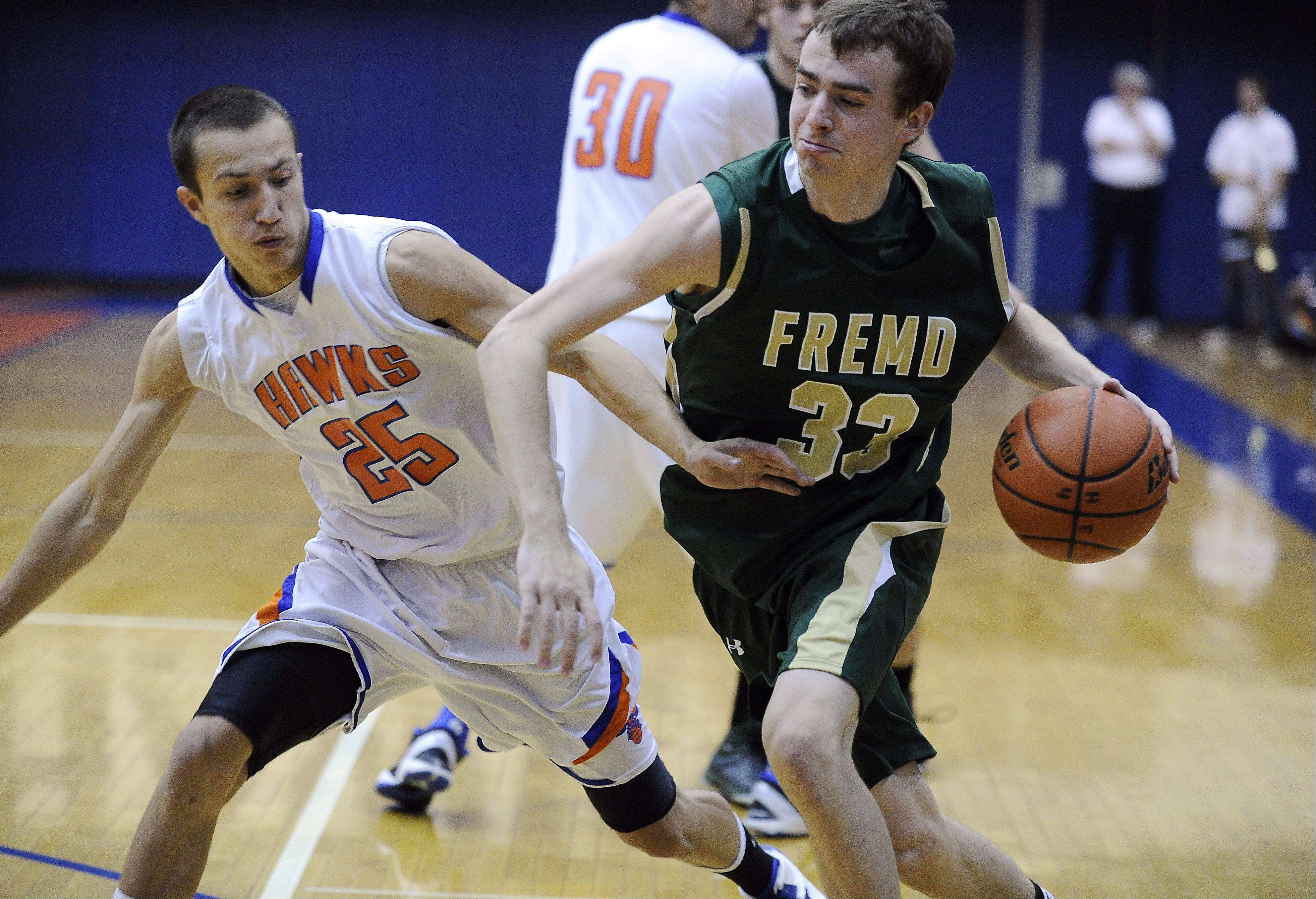 Fremd's Sean Benka drives around Hoffman's Jimmy Ward during Thursday's basketball game at Hoffman Estates High School.