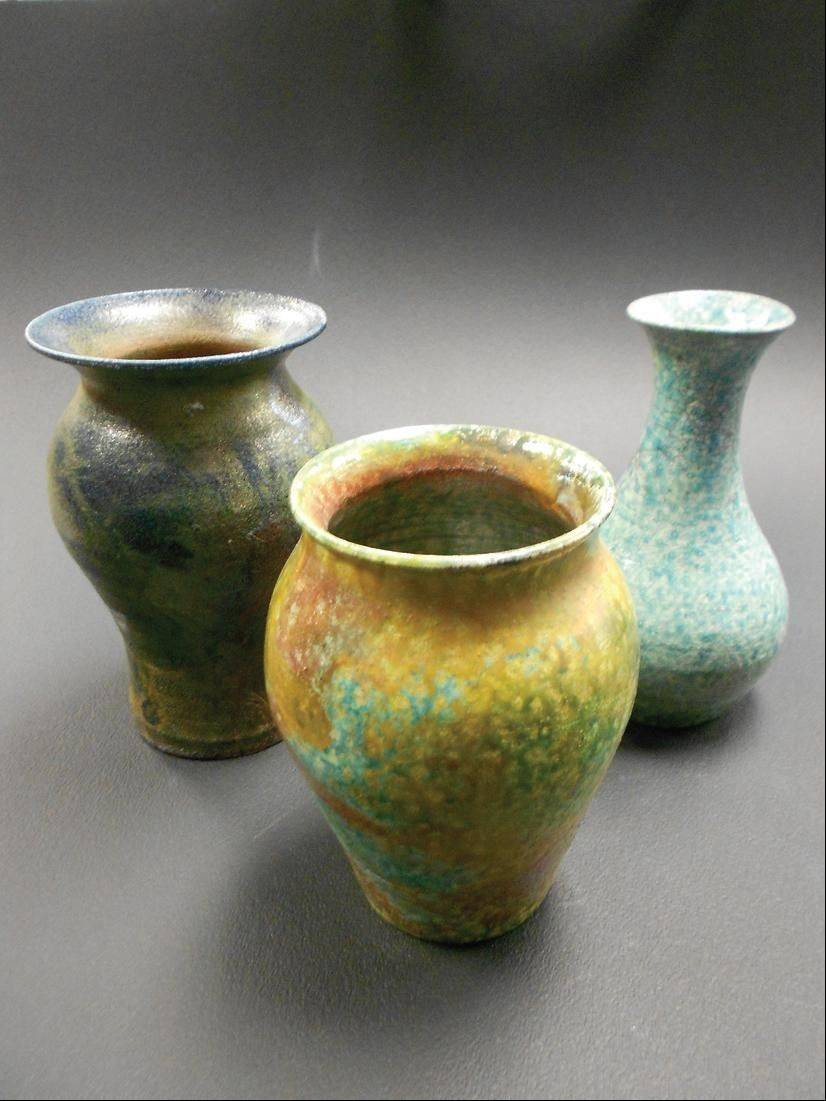 "Dundee-Crown High School student artist Stephen Gilbert's piece, ""Raku Fired Wheel Thrown Vases."""