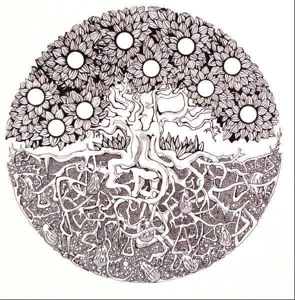 Jacobs High School student artist Jack Beatty's untitled piece in pen and ink.