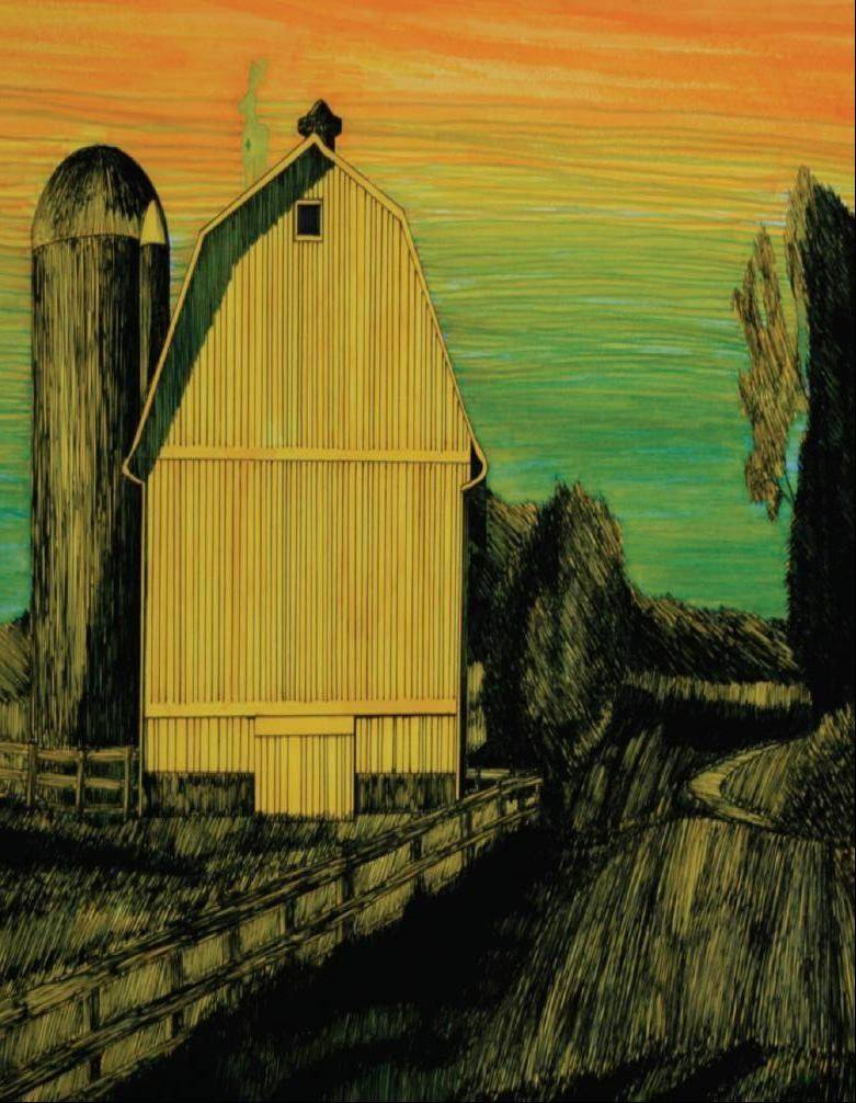 "Jacobs High School student artist Michael Abboreno's ""Barn at Sunrise"" in ink pen and art markers."
