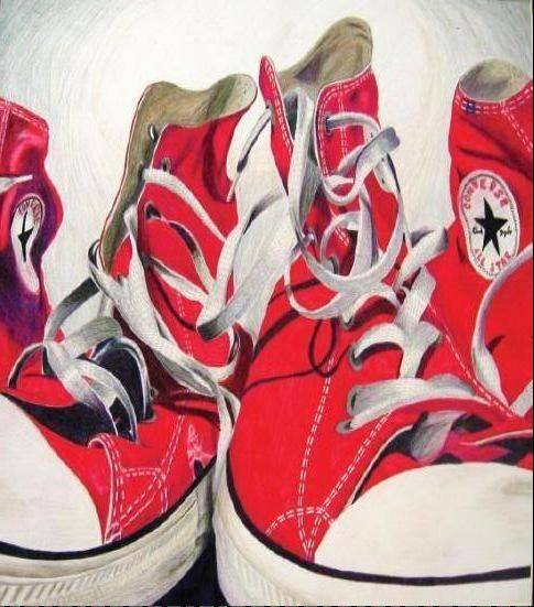 "Dundee-Crown High School student artist Carlin Faulkner's piece ""Can't Go Wrong with Red Shoes"" in colored pencil."