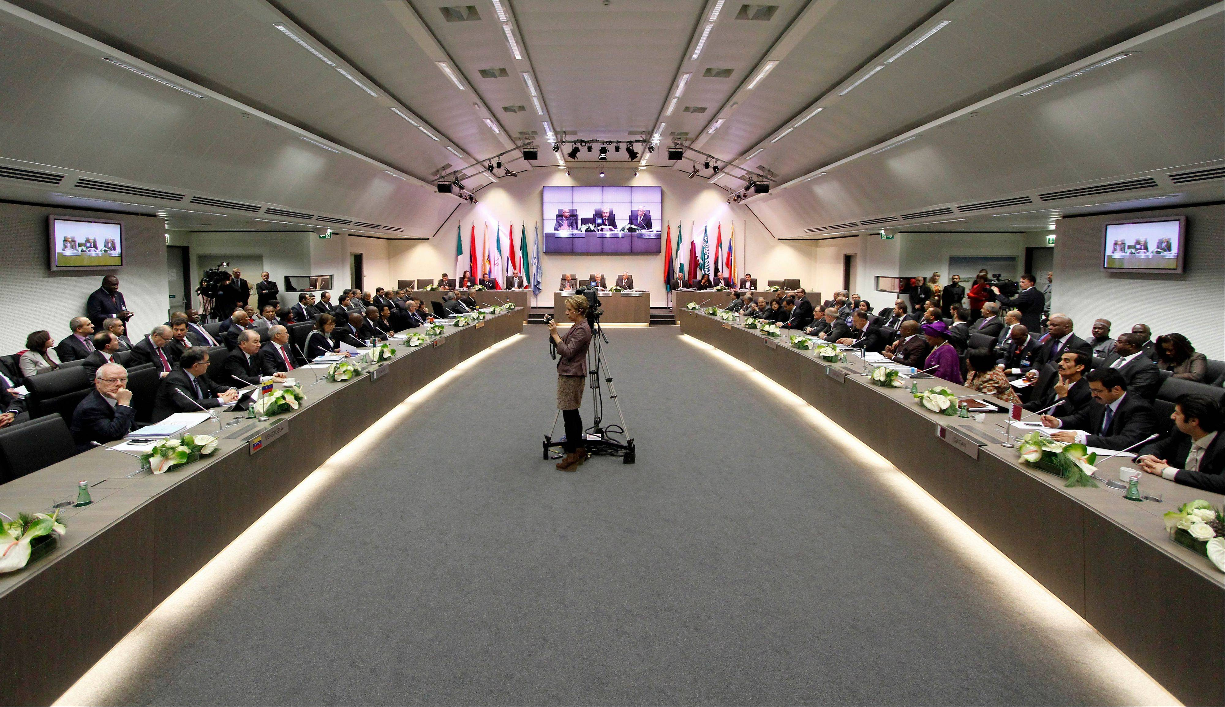 General view of the meeting of oil ministers of the Organization of the Petroleum Exporting countries, OPEC, at their headquarters in Vienna, Austria, Wednesday.