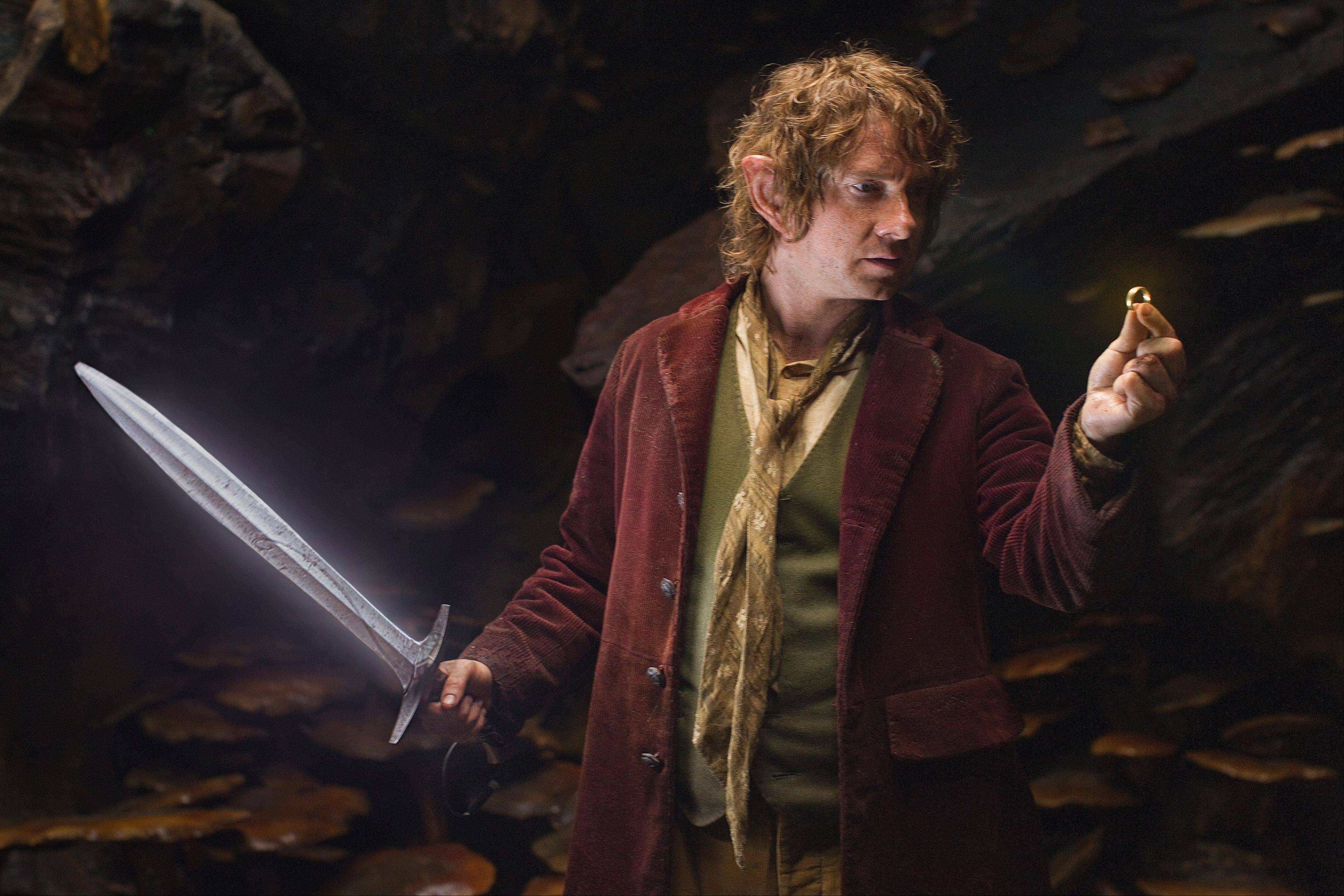 "Bilbo Baggins (Martin Freeman) discovers Gollum's ring in Peter Jackson's prequel ""The Hobbit: An Unexpected Journey."""