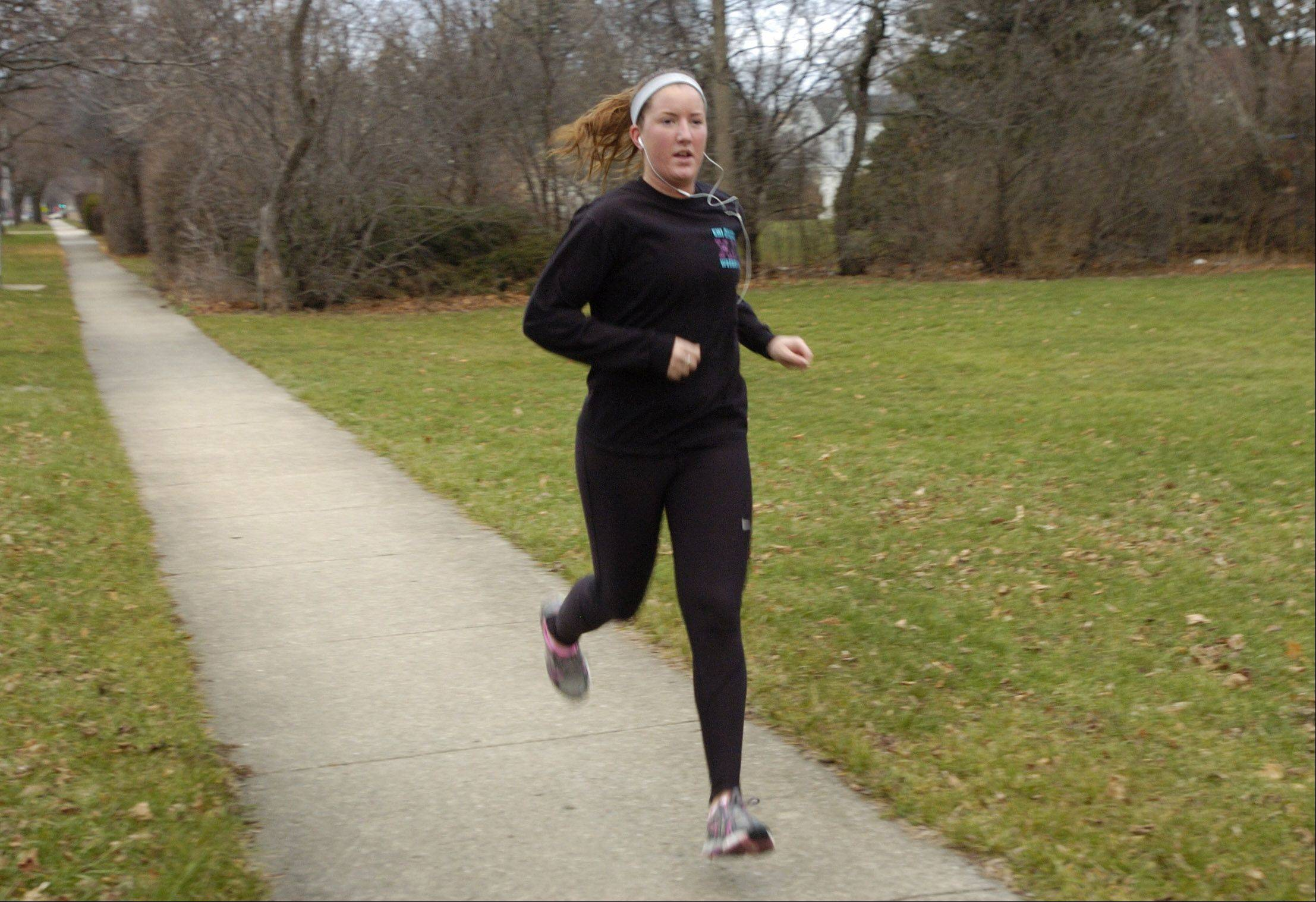 "Annette White of Arlington Heights enjoys running any chance she gets, but she says ""once the snow comes it gets really slippery and becomes a problem,"" so she's enjoying the record of 282 days without snow."