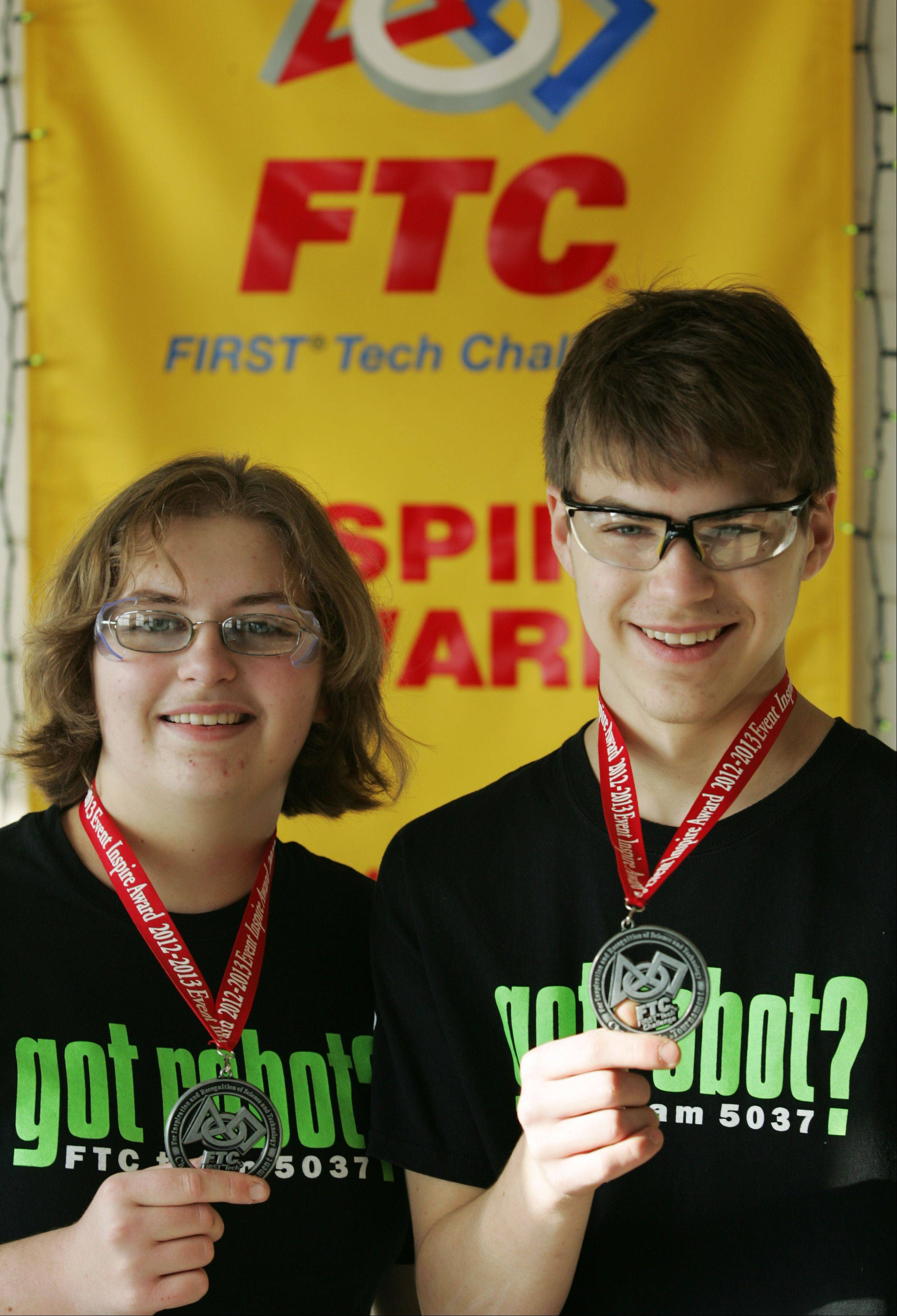 Kristen and Matthew McKellar compete with other high school students on the robotics team, got robot?
