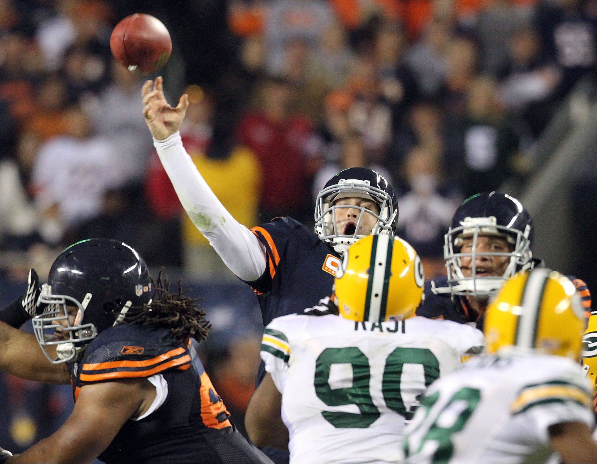 Since arriving in Chicago, Jay Cutler has thrown just 8 TD passes with 15 interceptions in seven starts against the Packers.