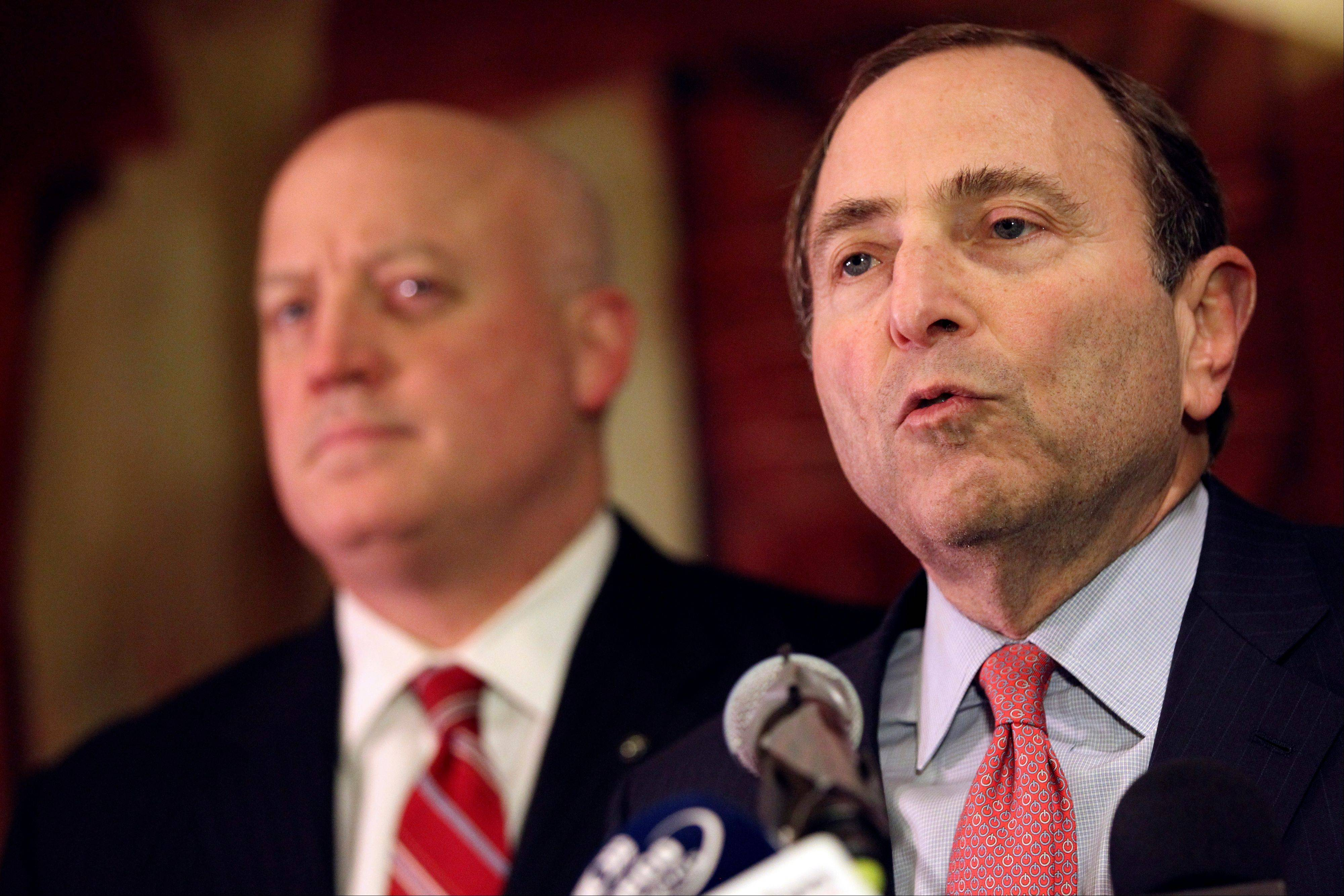 NHL Commissioner Gary Bettman, right, and deputy commissioner Bill Daly speak to reporters last Thursday in New York. The NHL has rejected the players' latest offer but negotiations are expected to resume Wednesday. (AP Photo/Mary Altaffer)