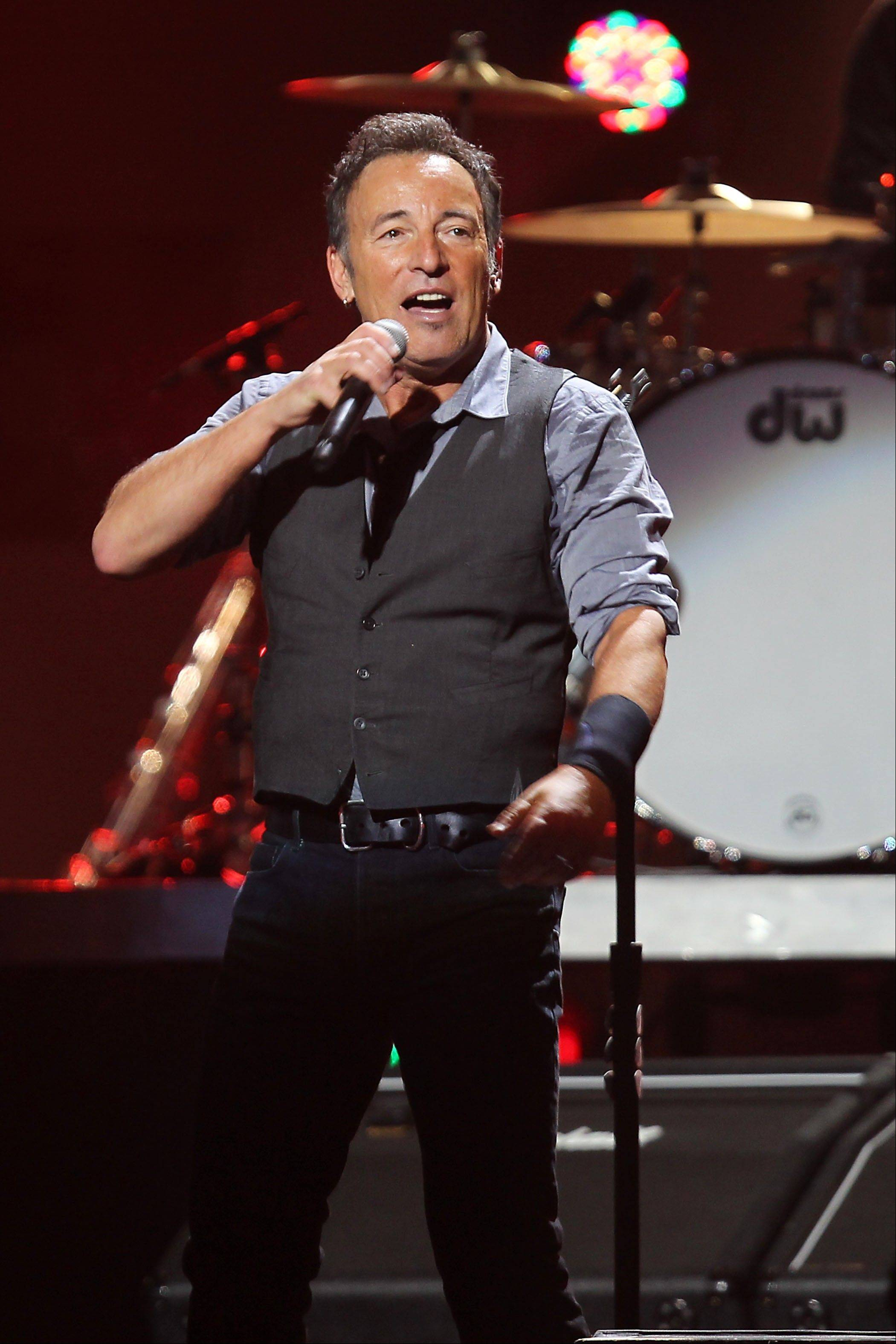 Bruce Springsteen performing Wednesday at the 12-12-12 The Concert for Sandy Relief at Madison Square Garden in New York.