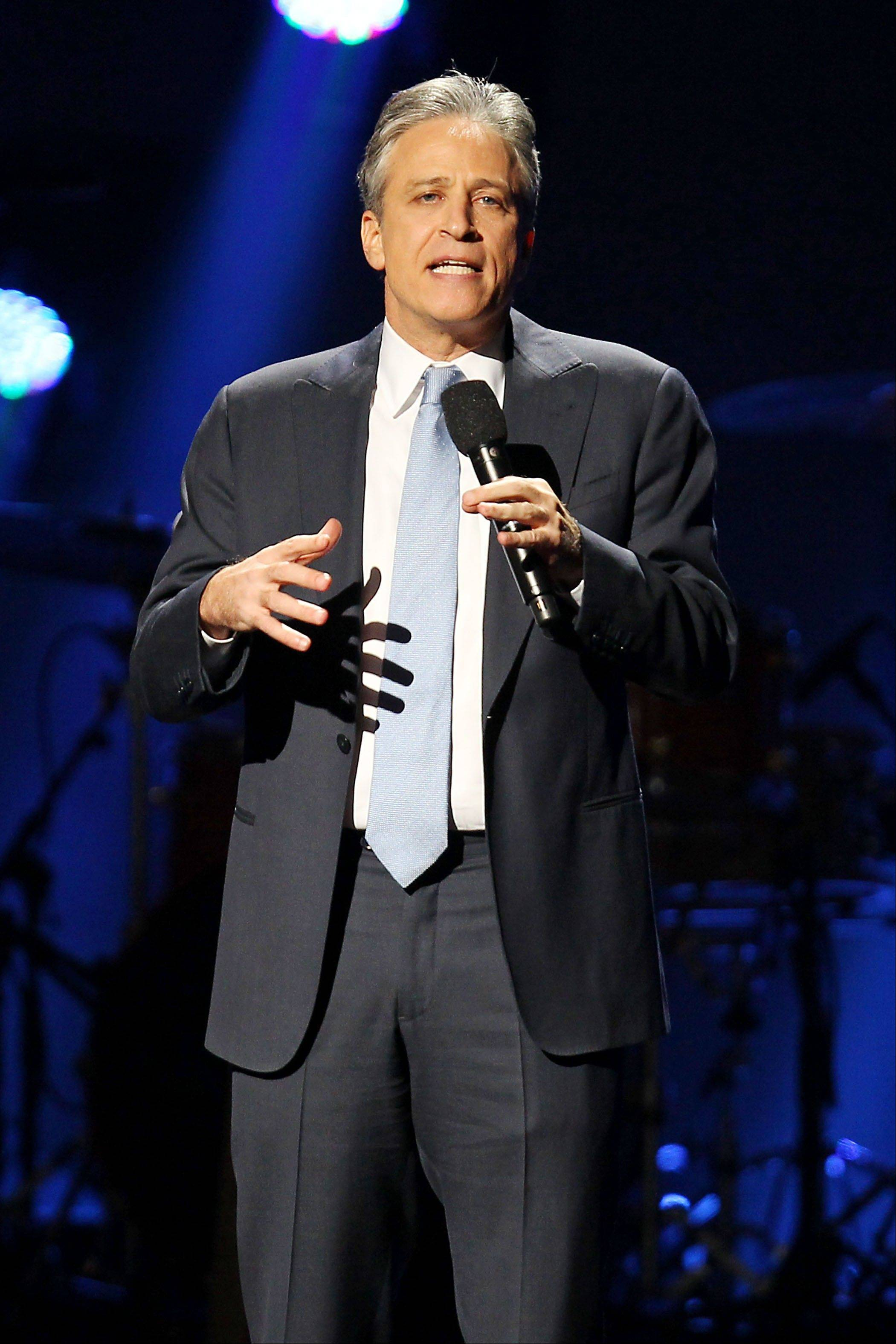 Jon Stewart at the 12-12-12 The Concert for Sandy Relief at Madison Square Garden in New York.