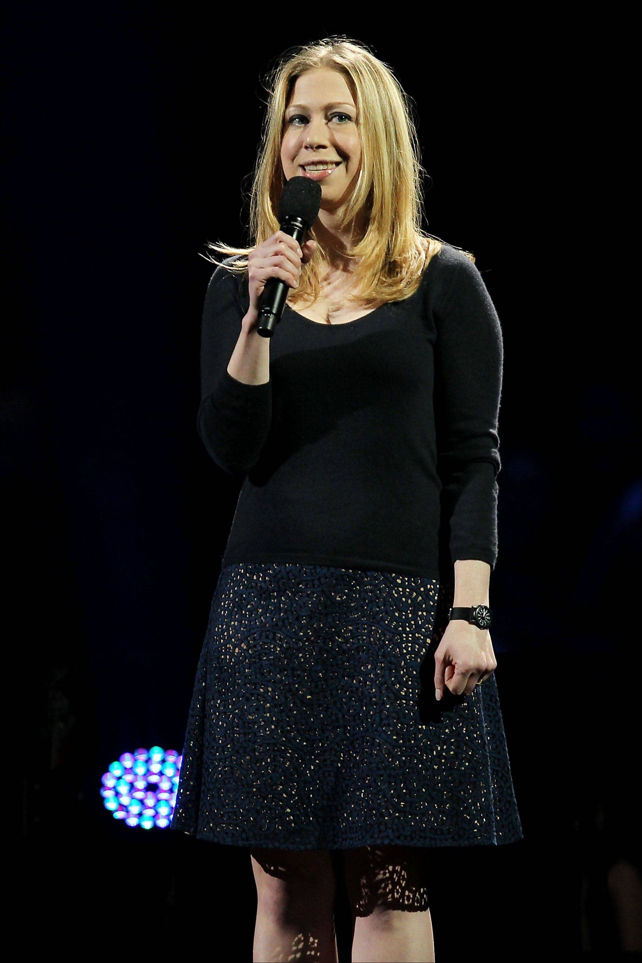 Chelsea Clinton speaks Wednesday at the 12-12-12 The Concert for Sandy Relief at Madison Square Garden in New York.