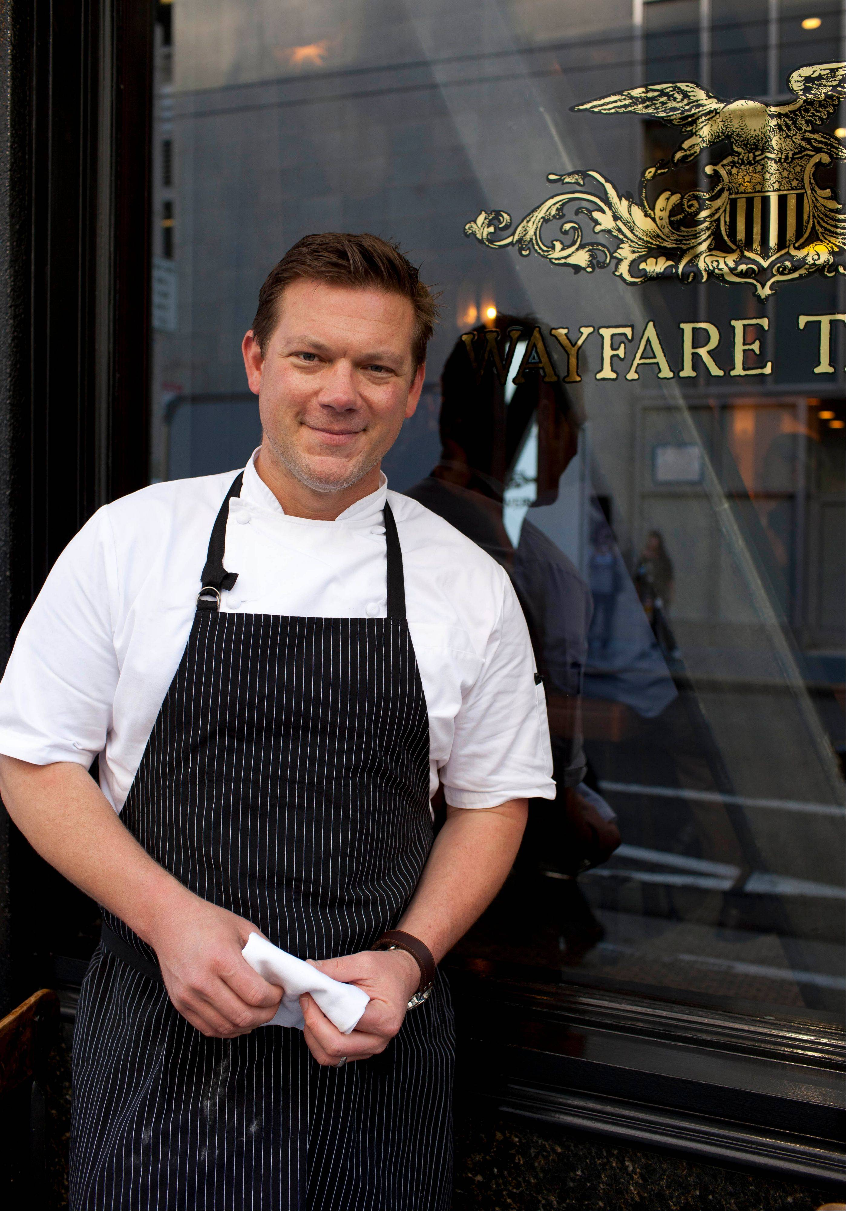 Chef Tyler Florence poses outside his Wayfare Tavern in San Francisco. In Food Network's early days Florence was synonymous with the network, running the celebrity chef gauntlet with cookbooks, product lines and appearances.