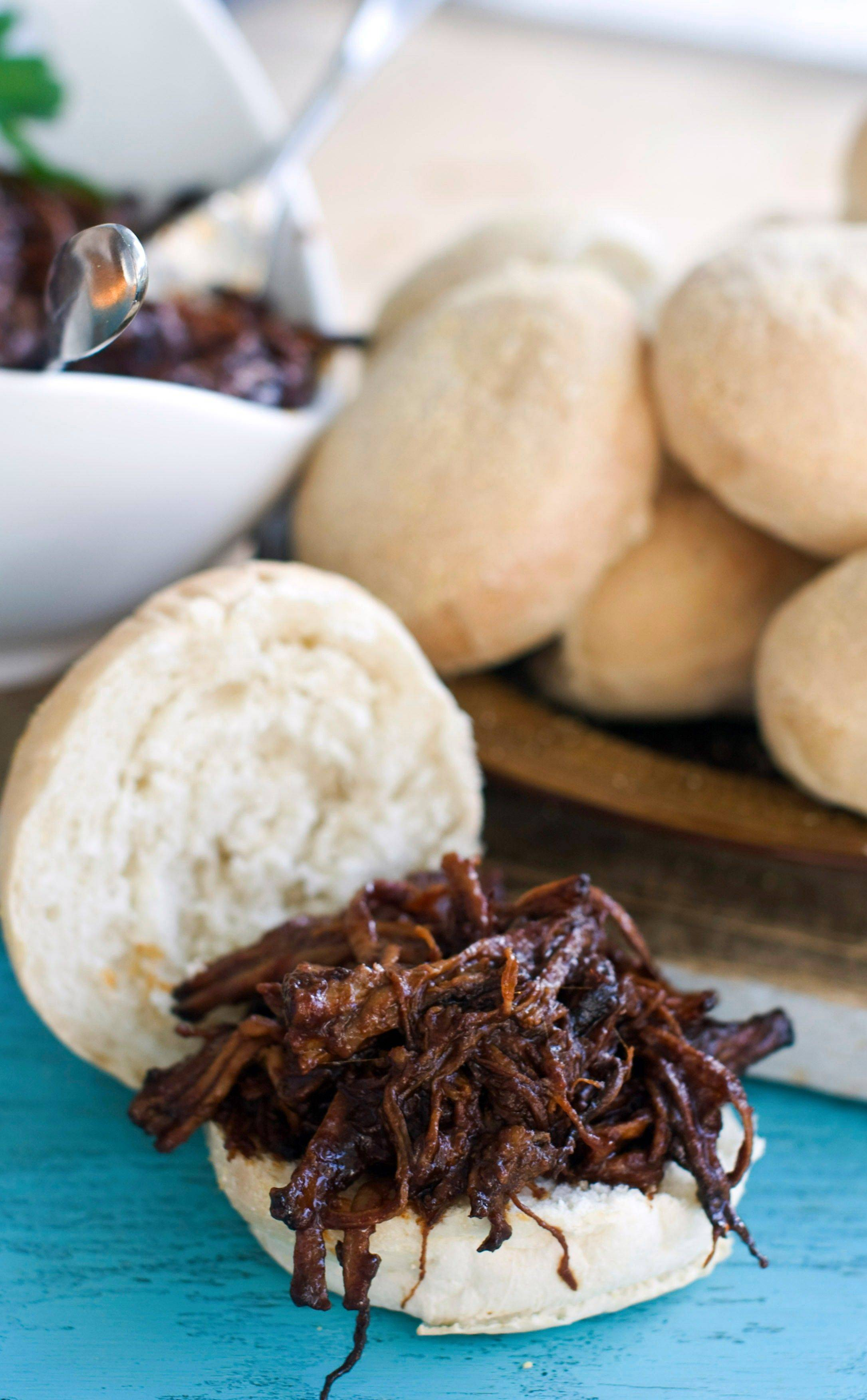 Cooking beef for sweet-and-tangy barbecue brisket sliders in a pressure cooker frees up the oven for other Hanukkah dishes.