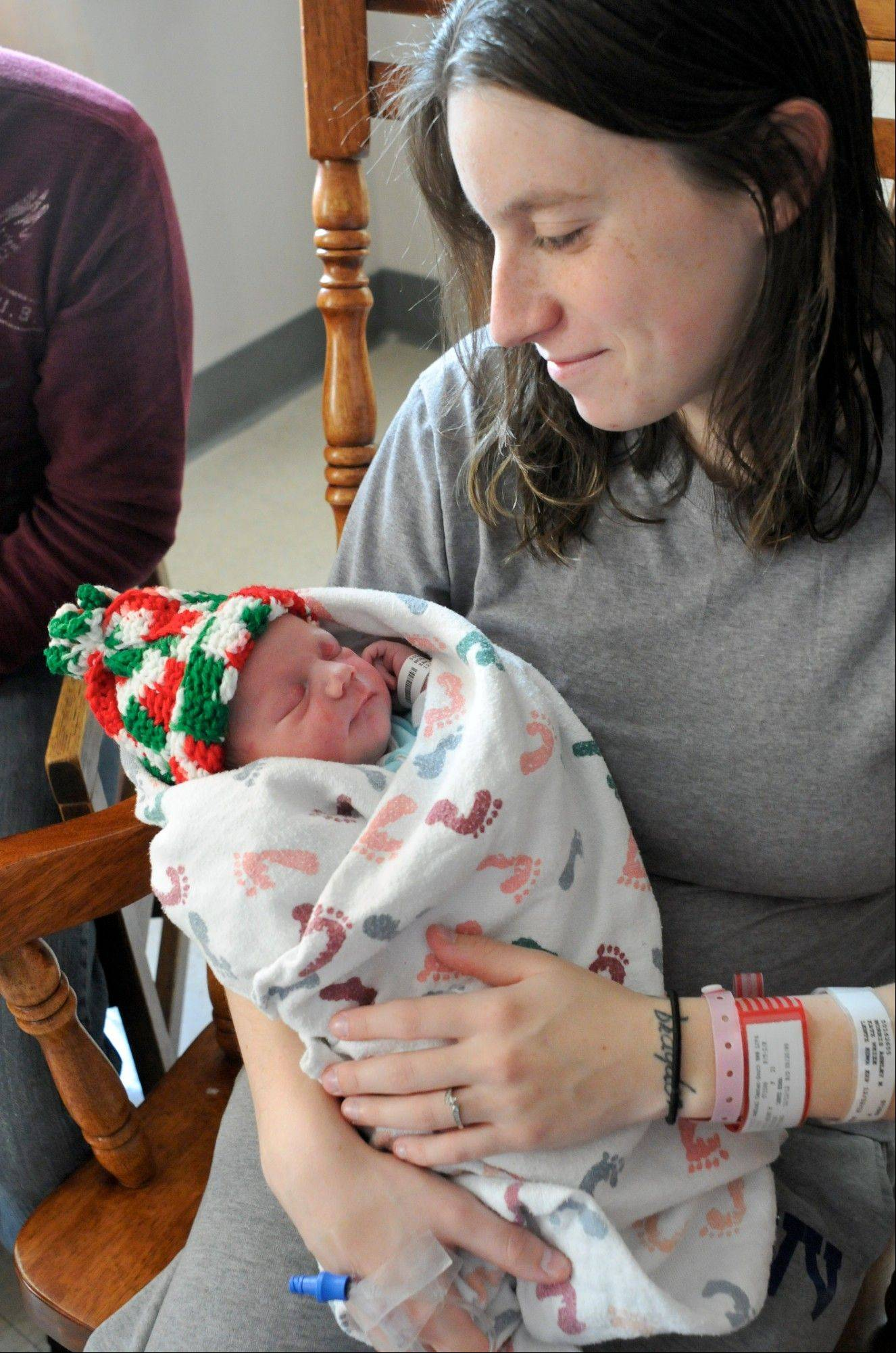 Ashley Morris, Williamstown, Pa., holds her newborn daughter, Ainsley, who was born at 12:12 p.m. on Wednesday at The Birthplace Schuylkill Medical Center South Jackson Street in Pottsville, Pa. Kurtis Lee King of Williamstown is the father.