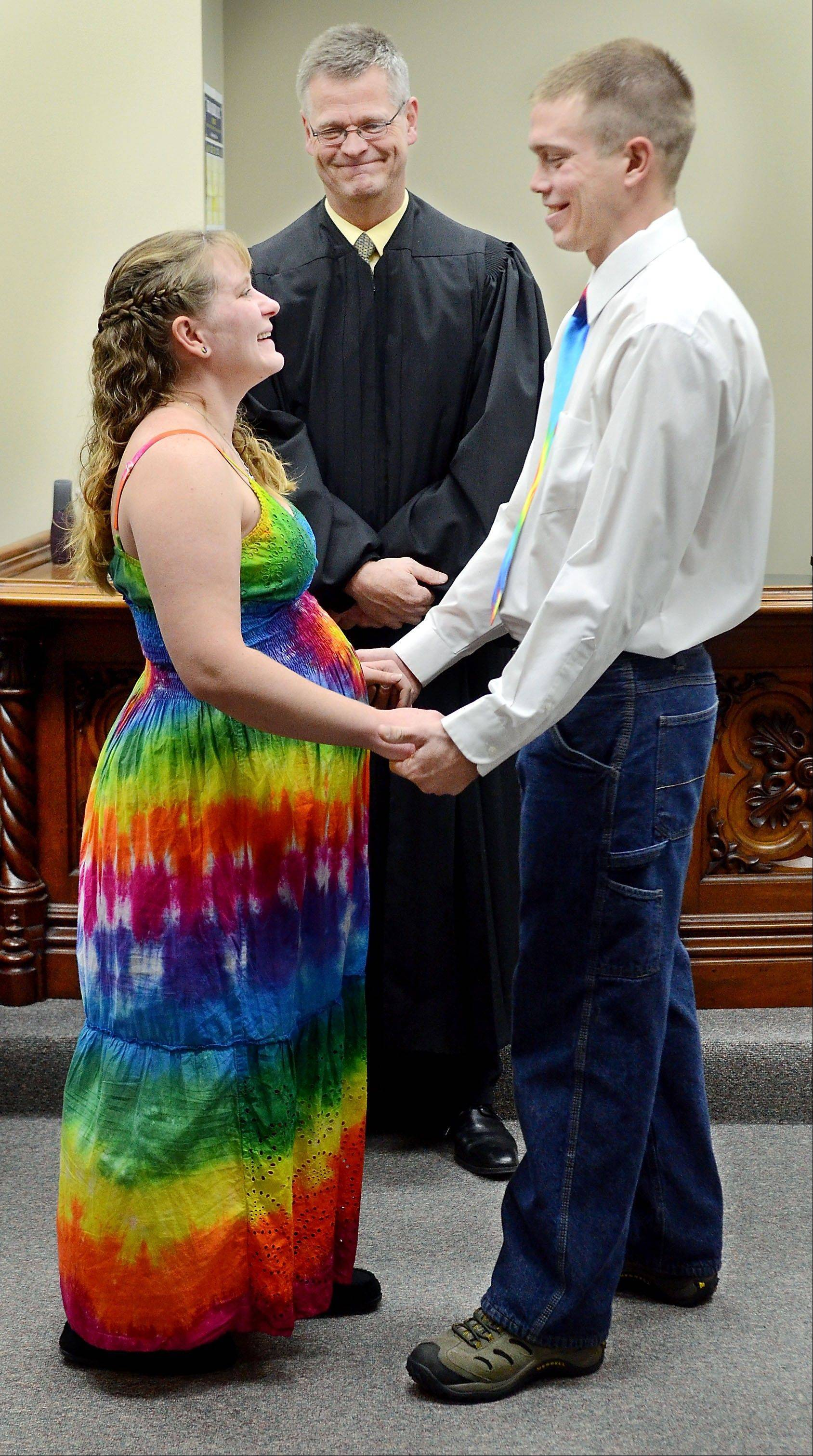 Danille Leavens and Charles Reid of Eau Claire were married Wednesday at the Eau Claire County Courthouse by Court Commissioner Nathan Novak in Eau Claire, Wis. The couple chose the memorable date because of its uniqueness and jokingly said for its ease to remember.