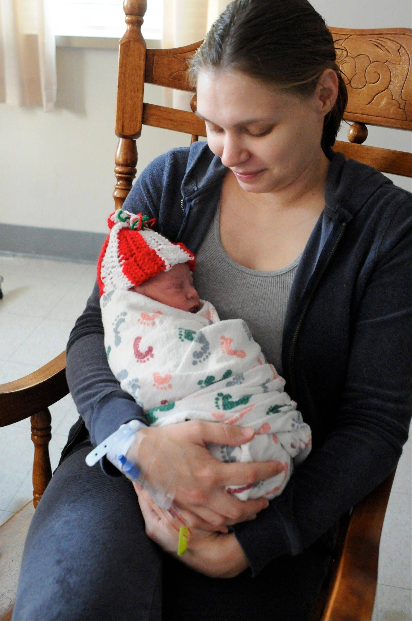 Rachel Krise, Pottsville, Pa., with her newborn son, Jet Ryan, who was born at 12:12 p.m. on Wednesday at The Birthplace Schuylkill Medical Center South Jackson Street in Pottsville, Pa. Rachel's fiance, Adam Jamison of Pottsville, is the father.