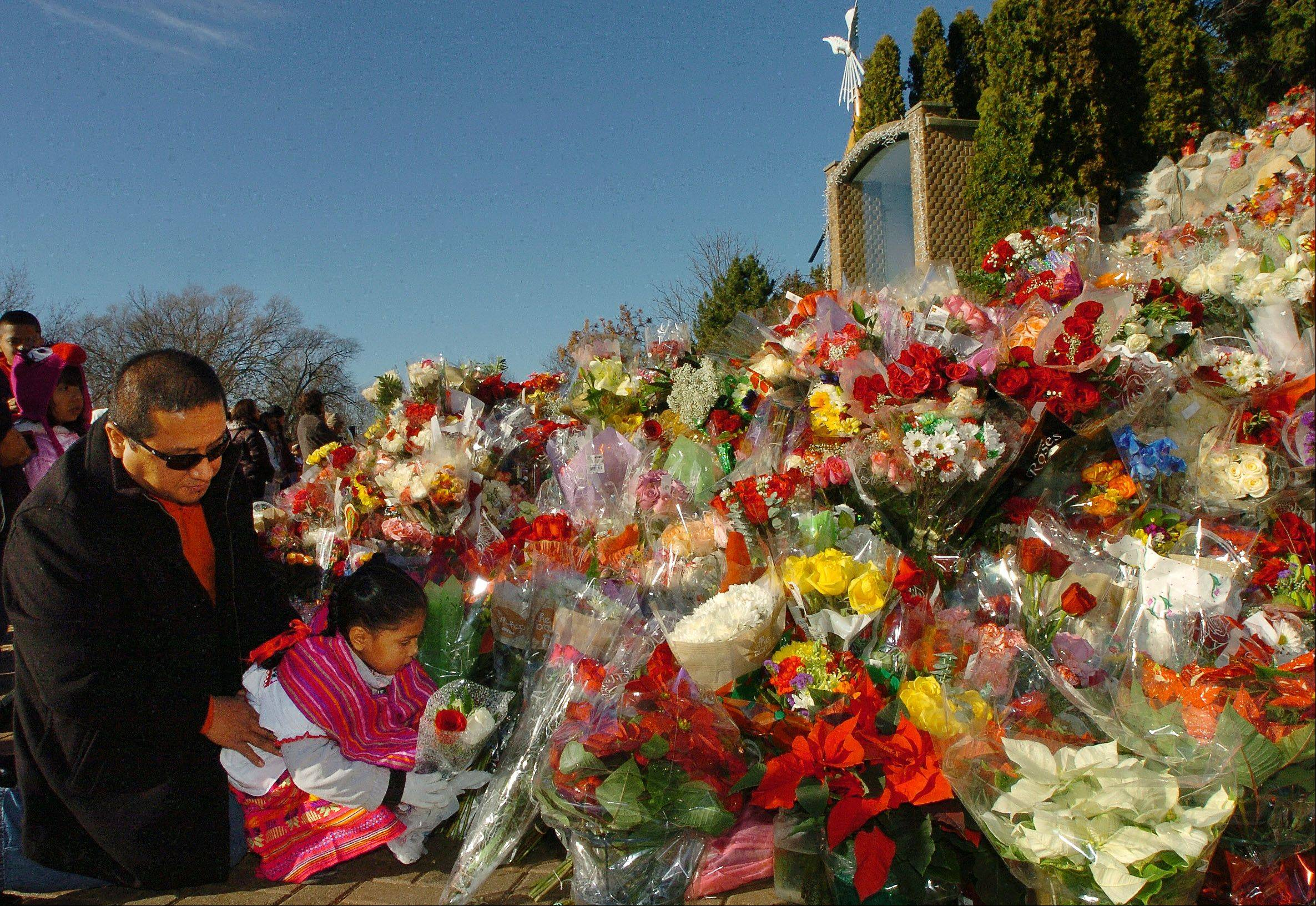 Carlos Garcia of Chicago and his daughter Ashley place roses at the Our Lady of Guadalupe shrine in Des Plaines.