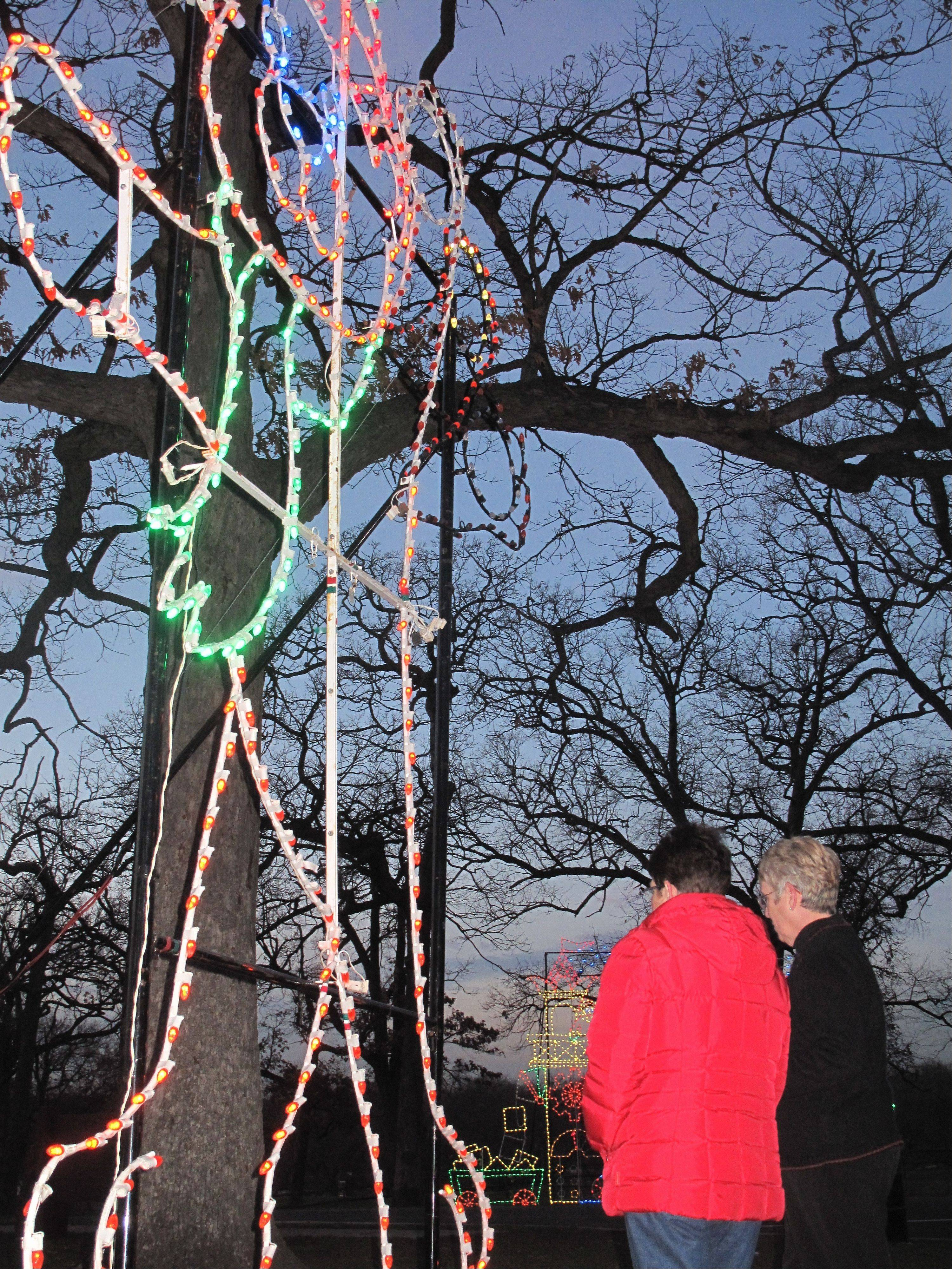 Almost 50 animated and static light displays are situated among the tall, stately trees of Phillips Park in Aurora for the sixth annual Festival of Lights, which runs until Dec. 26.