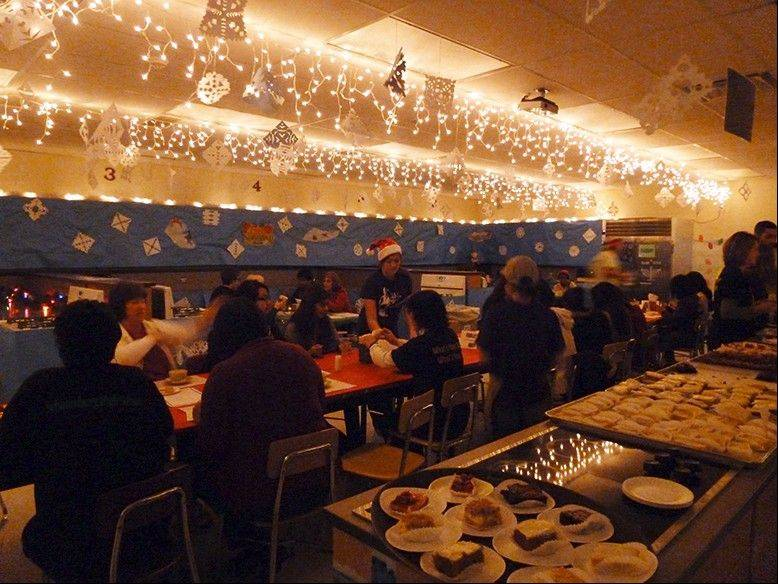 "Classrooms were transformed into ""Winter Wonderland"" seating areas for guests to eat."