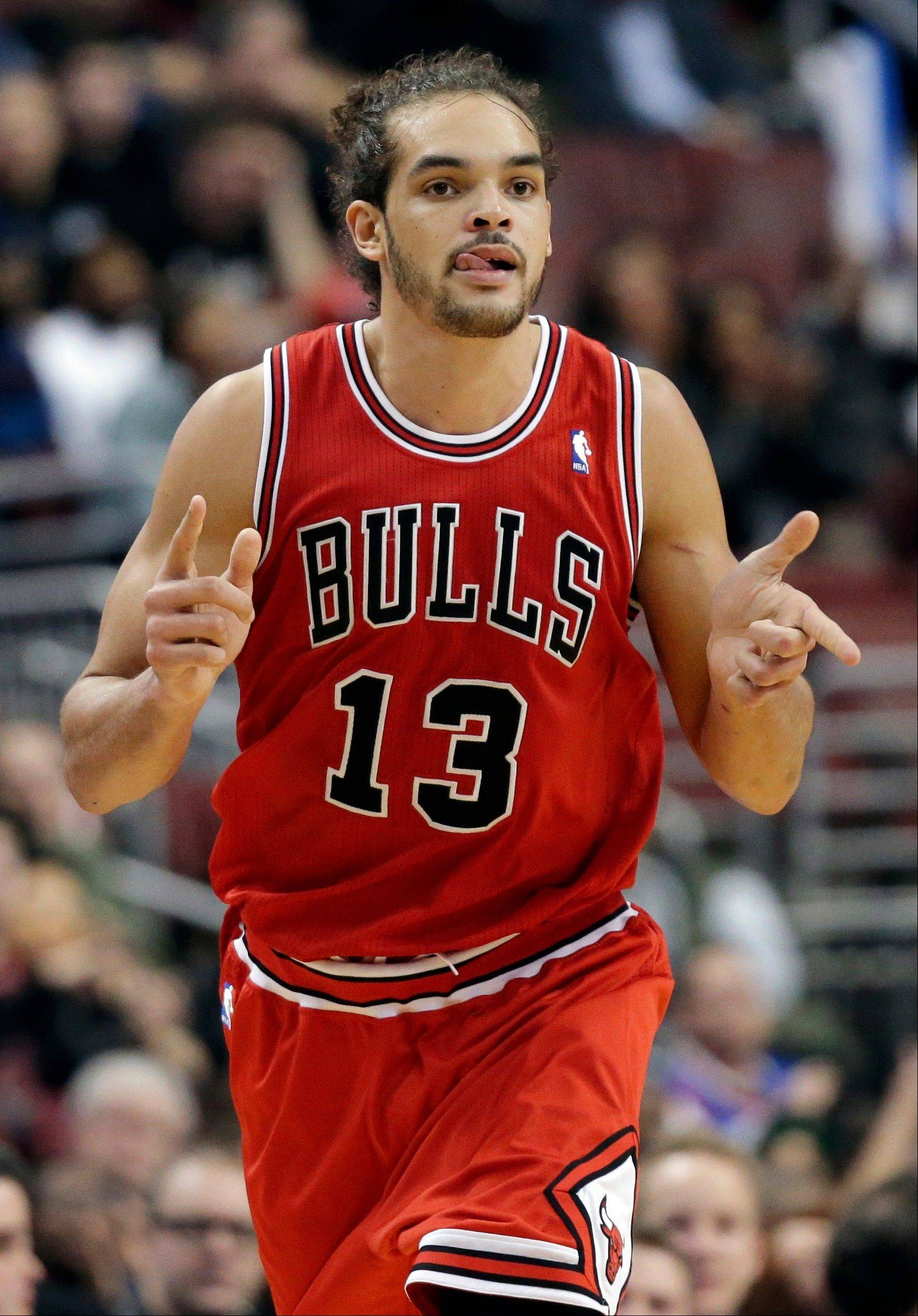 Joakim Noah reacts after scoring in the second half Wednesday night, when he finished with 21 points for the Bulls.