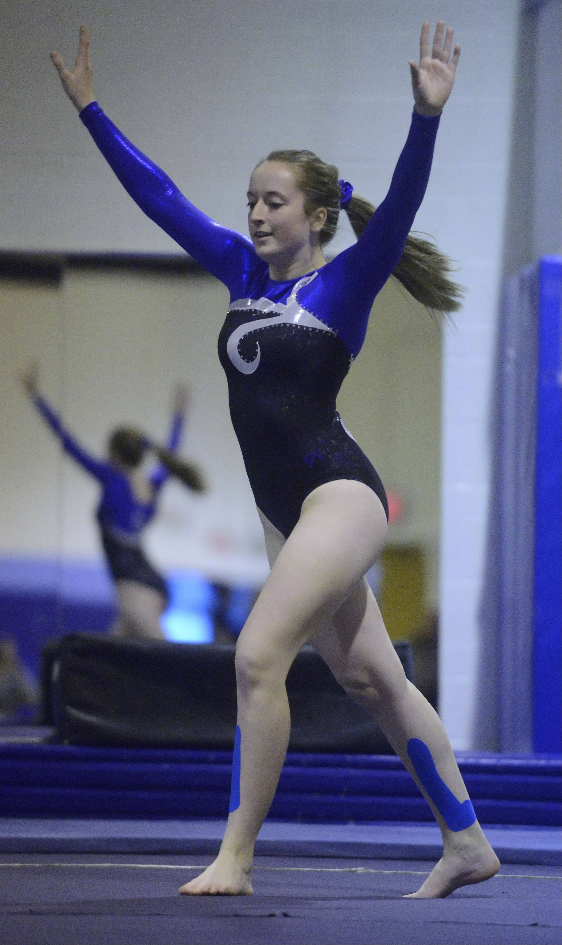 Wheeling's Annah Meintzer performs her floor exercise routine during Wednesday's gymnastics meet at Prospect.