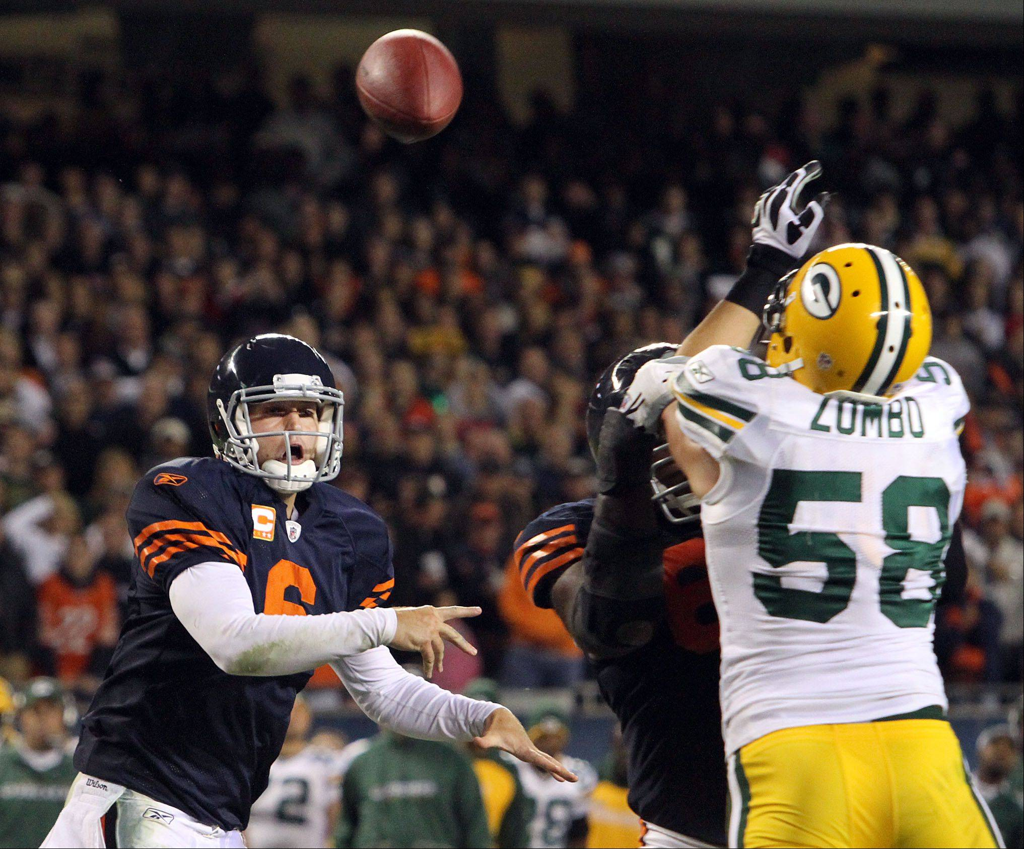 Jay Cutler is just 1-6 in his seven starts against the Packers as a member of the Bears.