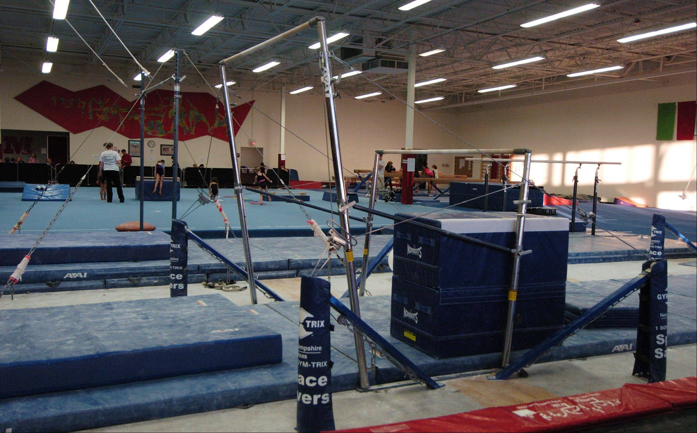 JOE LEWNARD/jlewnard@dailyherald.comInterior view of the facility at Midwest Elite Gymnastics Academy in South Barrington. The academy will be moving to Elgin in January.
