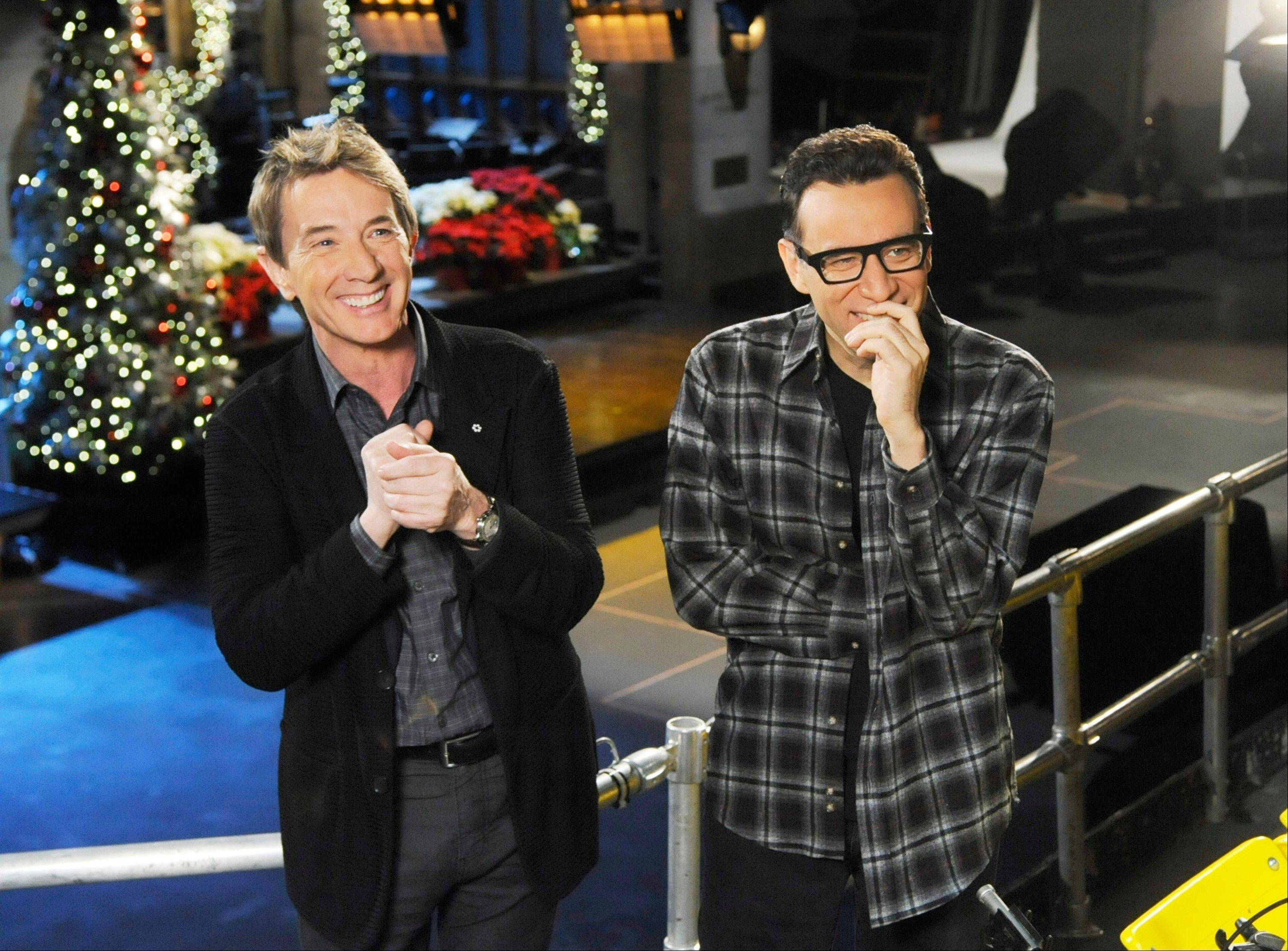"Martin Short, left, with cast member Fred Armisen on the set of ""Saturday Night Live,"" in New York. Short will guest host on the popular late-night program along with musical guest Paul McCartney."