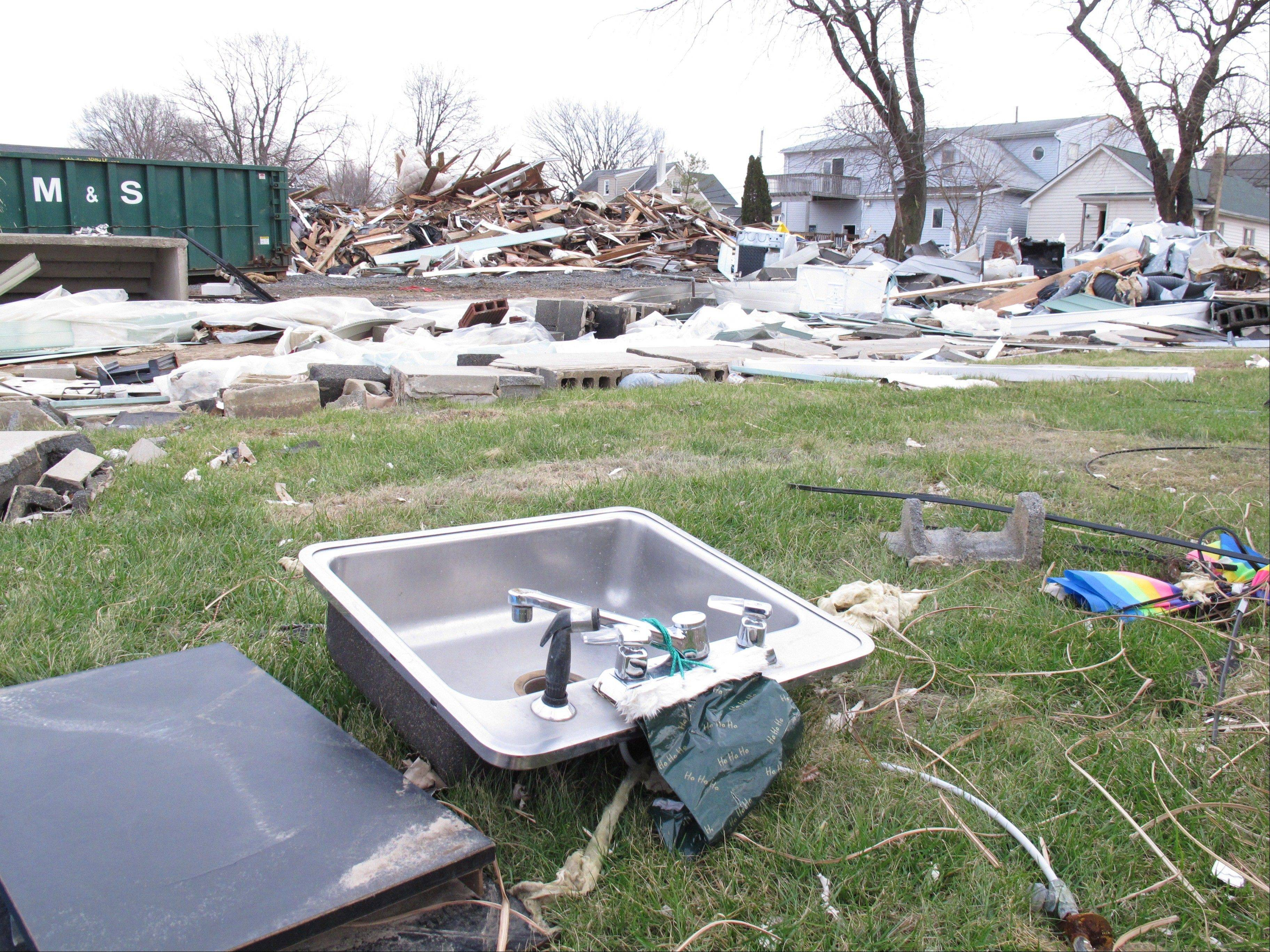 A kitchen sink is all that remains of the home that used to sit on this lot in Union Beach N.J., ssen here on Wednesday.