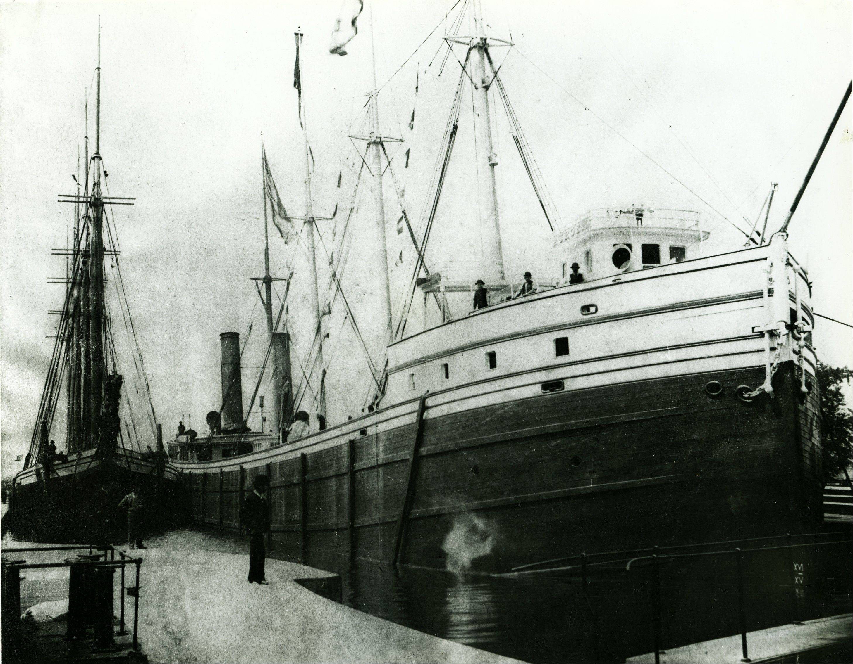 This Dec. 11, 2012 photo shows a painting of the ship Aurora from its sailing days provided by the Thunder Bay National Marine Sanctuary in Muskegon, Mich. The remains of the wooden steamer built 125 years ago recently were uncovered in West Michigan because of lower Great Lakes water levels.