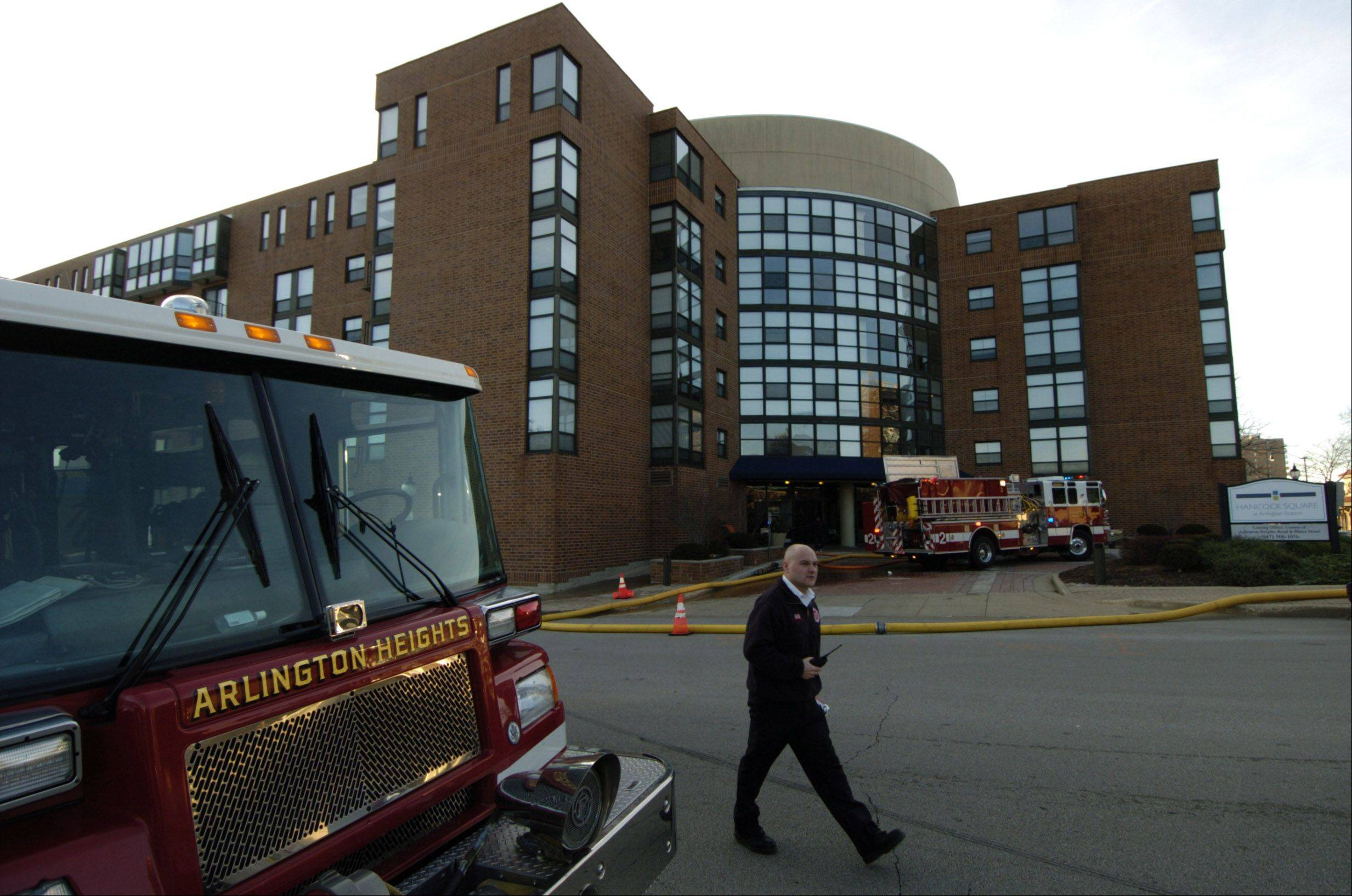 The Arlington Heights Fire Department responded to an early morning fire Thursday at the Hancock Square building on the 200 block of North Dunton Avenue. A 36-year-old female resident died in the fire, authorities said.