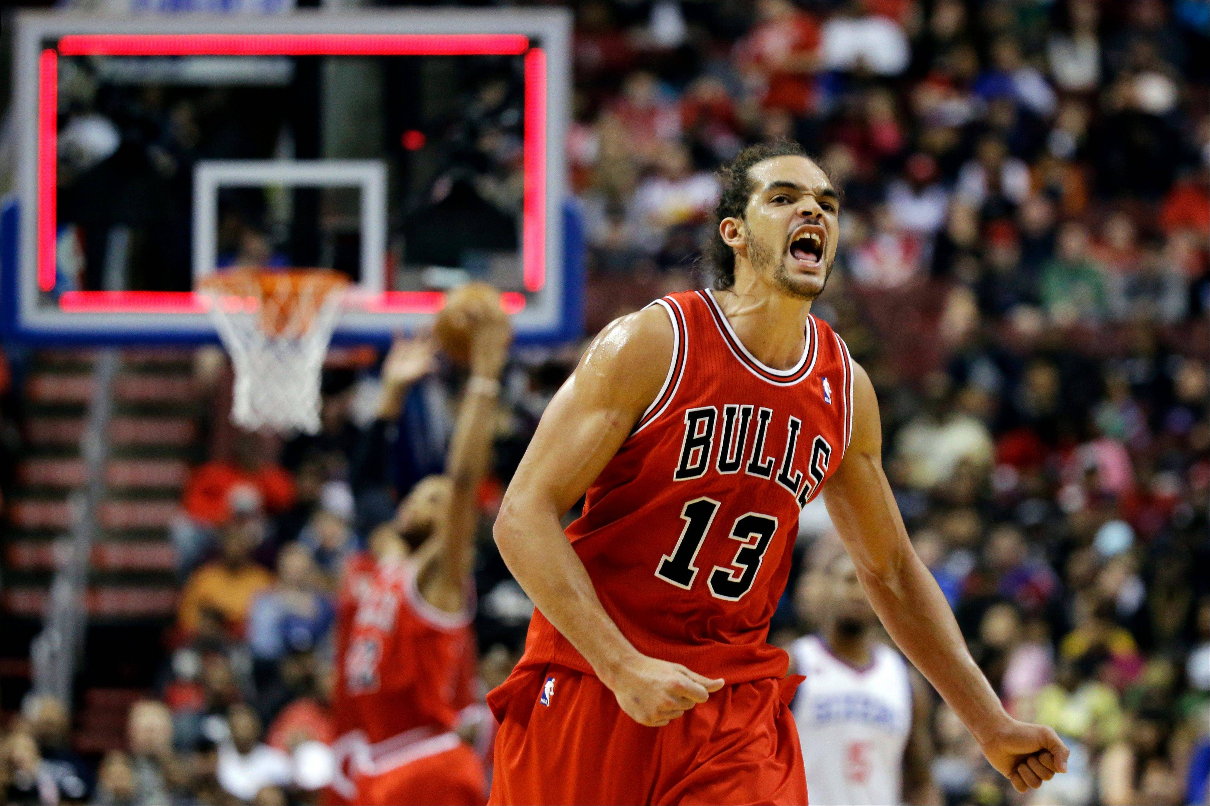 Chicago Bulls' Joakim Noah reacts after Philadelphia 76ers' Spencer Hawes failed to score at the end of the first quarter of an NBA basketball game, Wednesday, Dec. 12, 2012, in Philadelphia.
