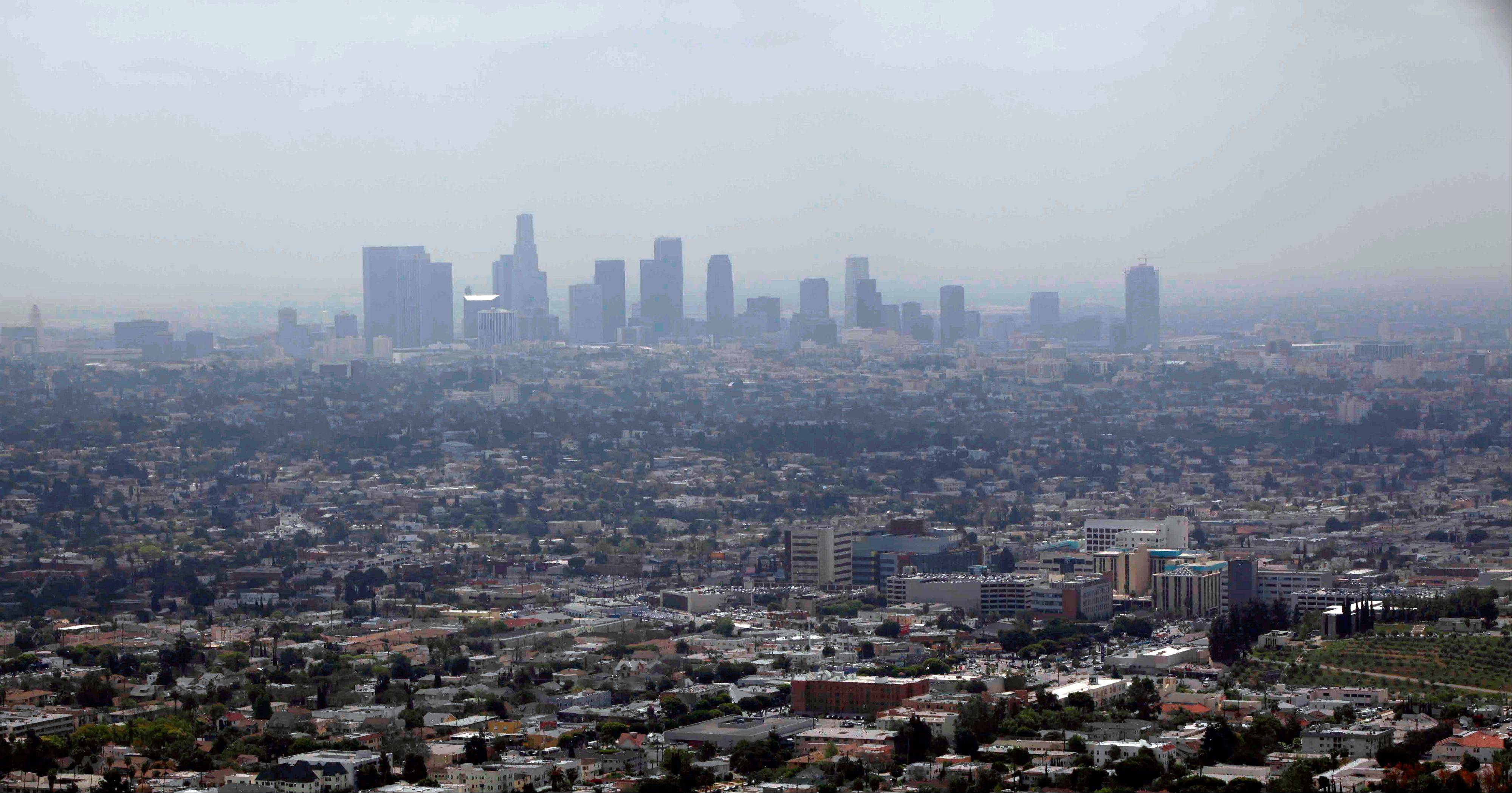 Smog covers downtown Los Angeles.
