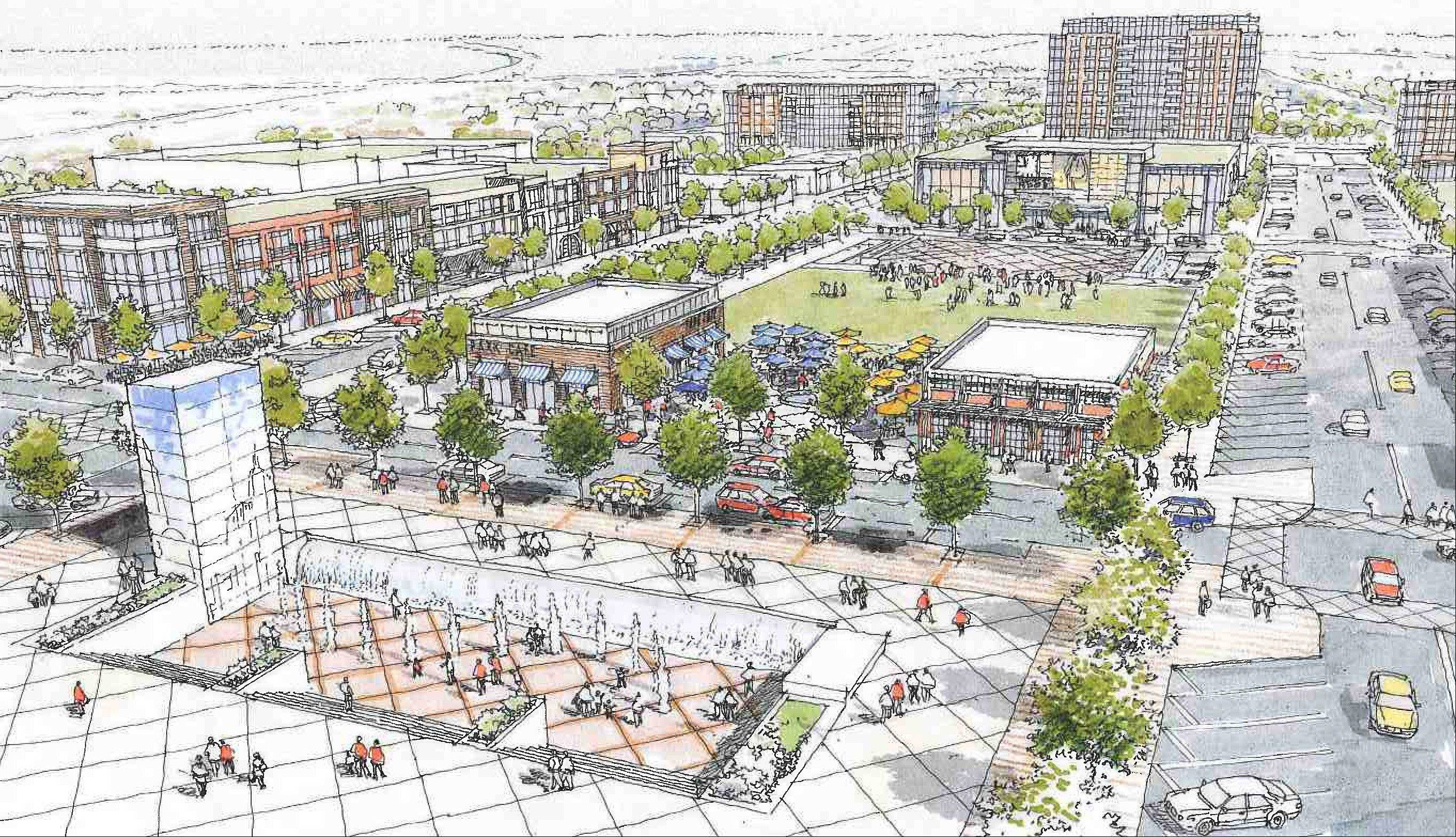 This is a sketch of what a proposed development in Buffalo Grove might look like.