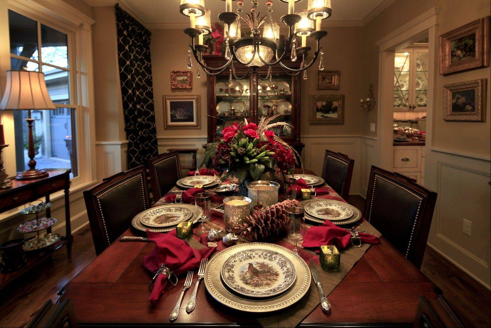 Designer Christina Lynn Miller decked out the dining room of a traditional English-country-style home.