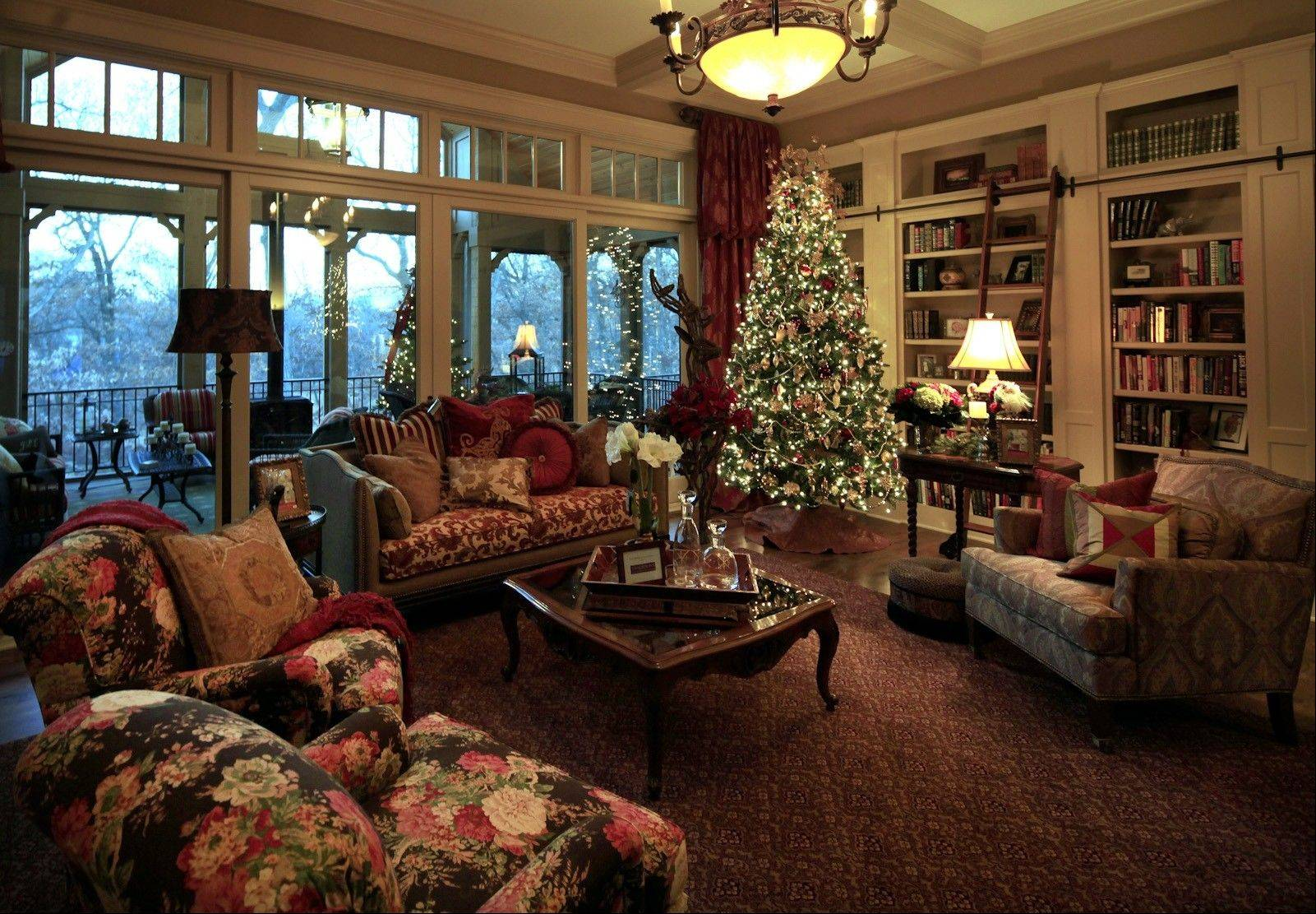 Designer Rhonda McElroy took cues from the jewel tones in the formal living room for holiday accessories.