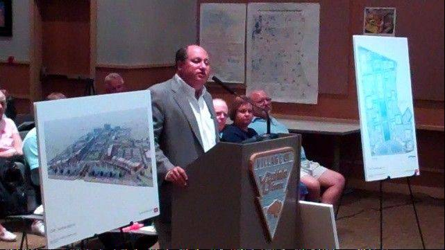Developer Chuck Malk speaks to the Buffalo Grove Village Board on Monday, Aug. 6.