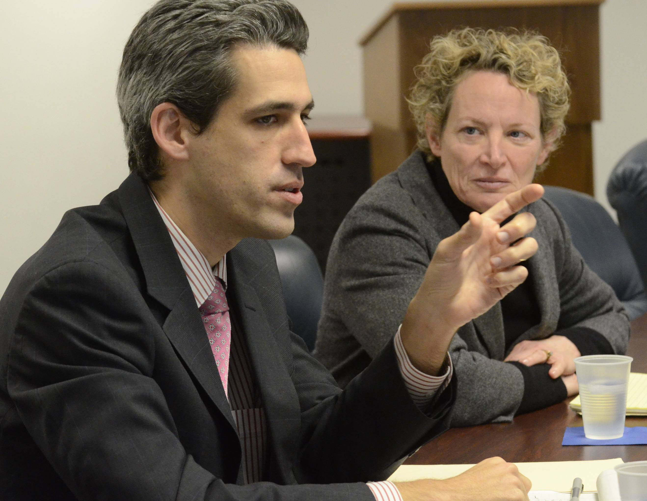 State Reps. Daniel Biss and Elaine Nekritz talk about pension reform with the Daily Herald Editorial Board on Friday.