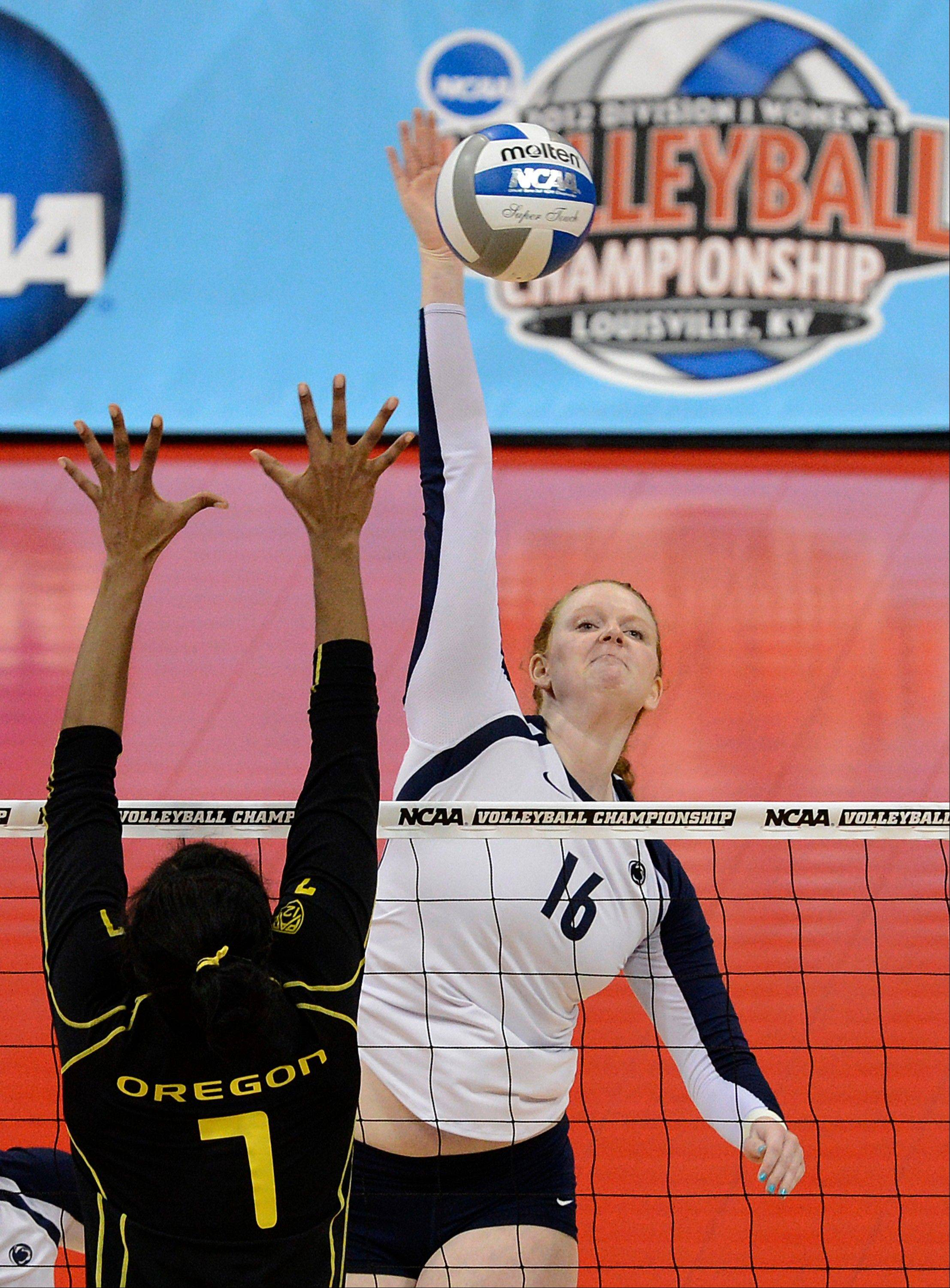 Katie Slay, right, and her Penn State teammates are no strangers to NCAA Tournament success in women's volleyball, having won four straight national titles beginning in 2007 and reaching the Final Four this season.