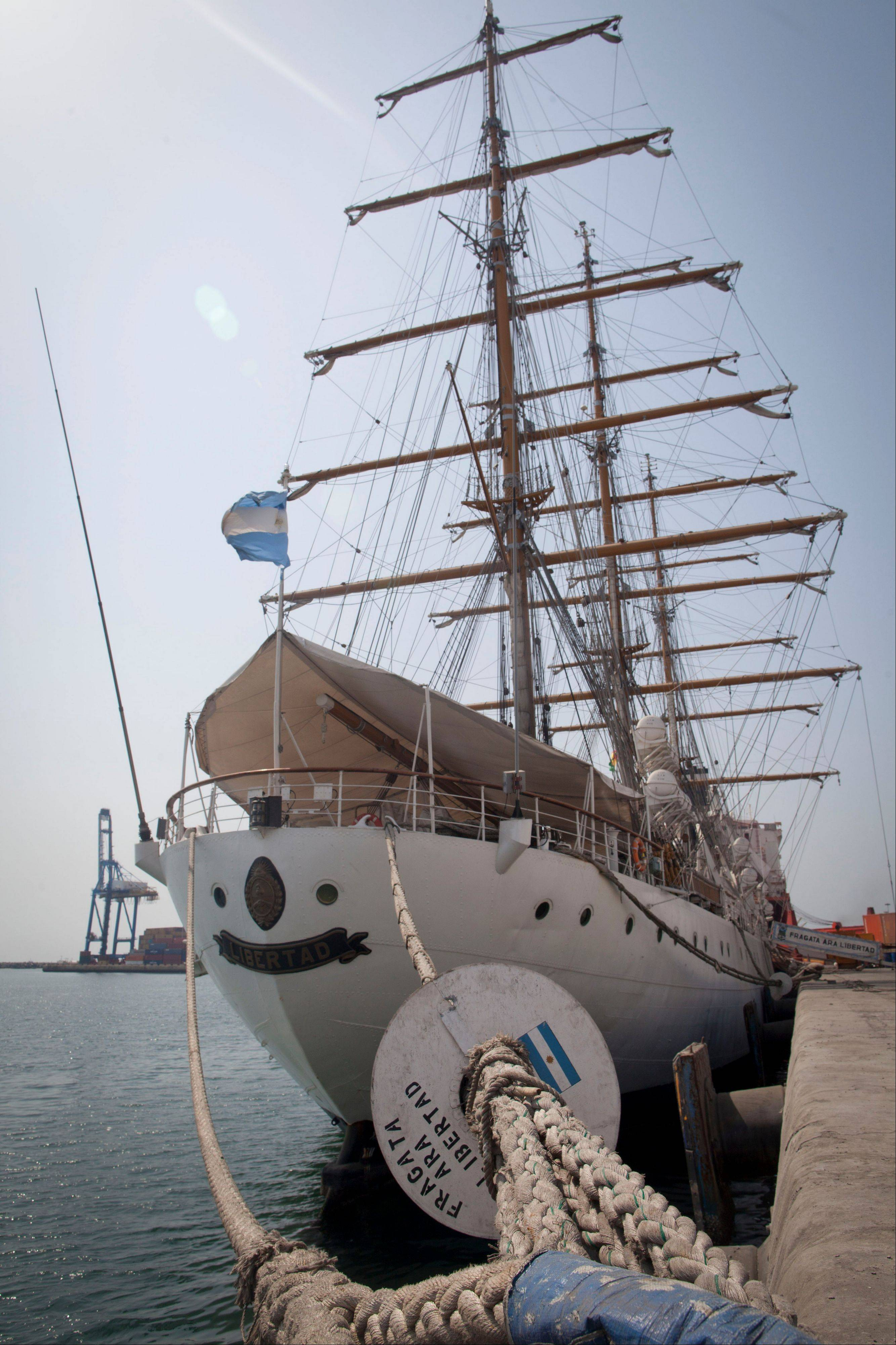 Argentina�s three-masted navy training tall ship ARA Libertad, which was seized on Oct. 2 as collateral for unpaid bonds dating from Argentina�s economic crisis a decade ago, sits docked at the port in Tema, outside Accra, in Ghana Friday.