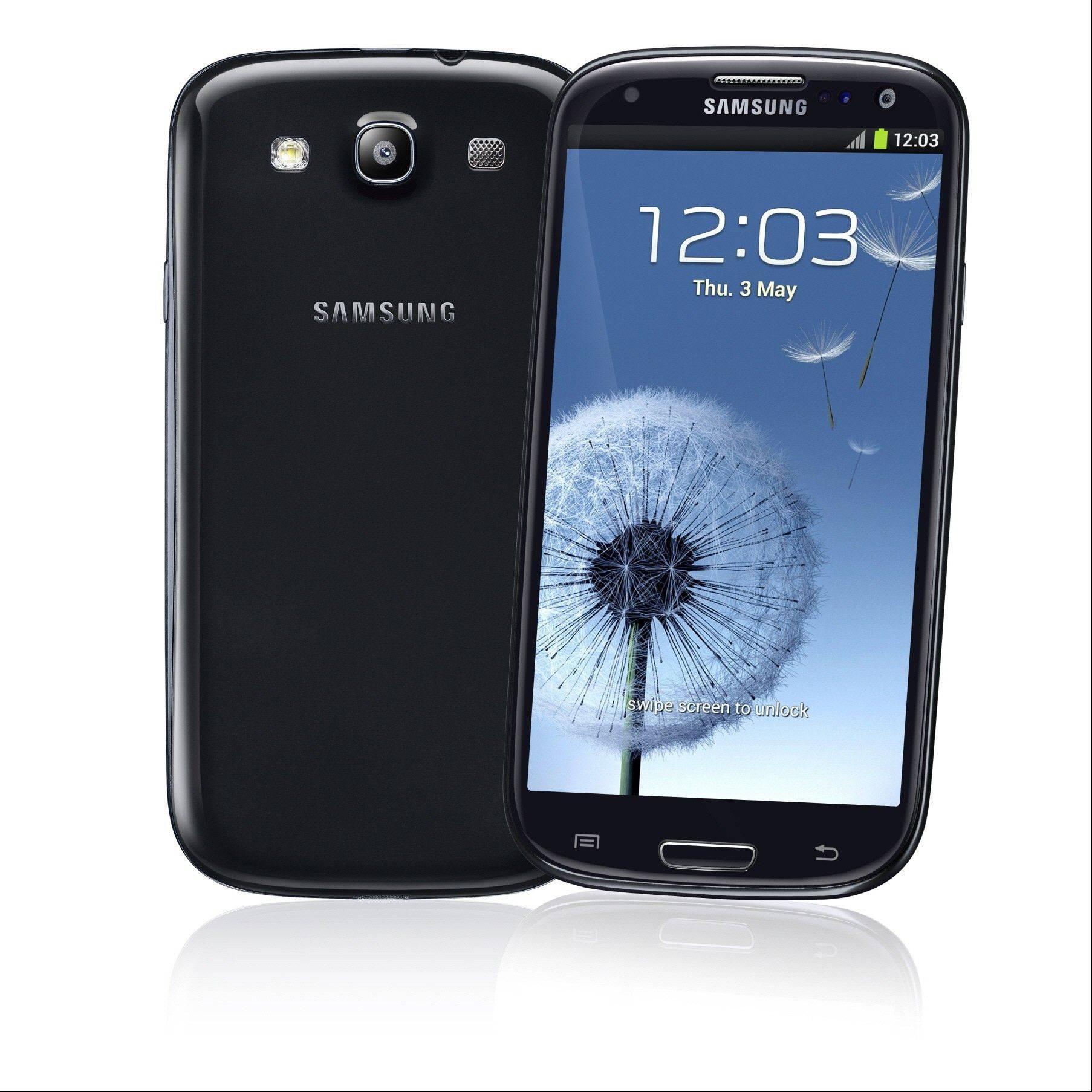 This undated image provided by Samsung shows the company's Samsung Galaxy S III. In the past few years, smartphones have gradually gotten bigger and tablet computers have gotten smaller. So it should come as no surprise that devices in between are starting to emerge. These devices, informally known as phablets, are better described as giant phones than baby tablets, as they can be used for phone calls. And for now, they are closer in size to regular phones, with screens running 5 inches or more diagonally.